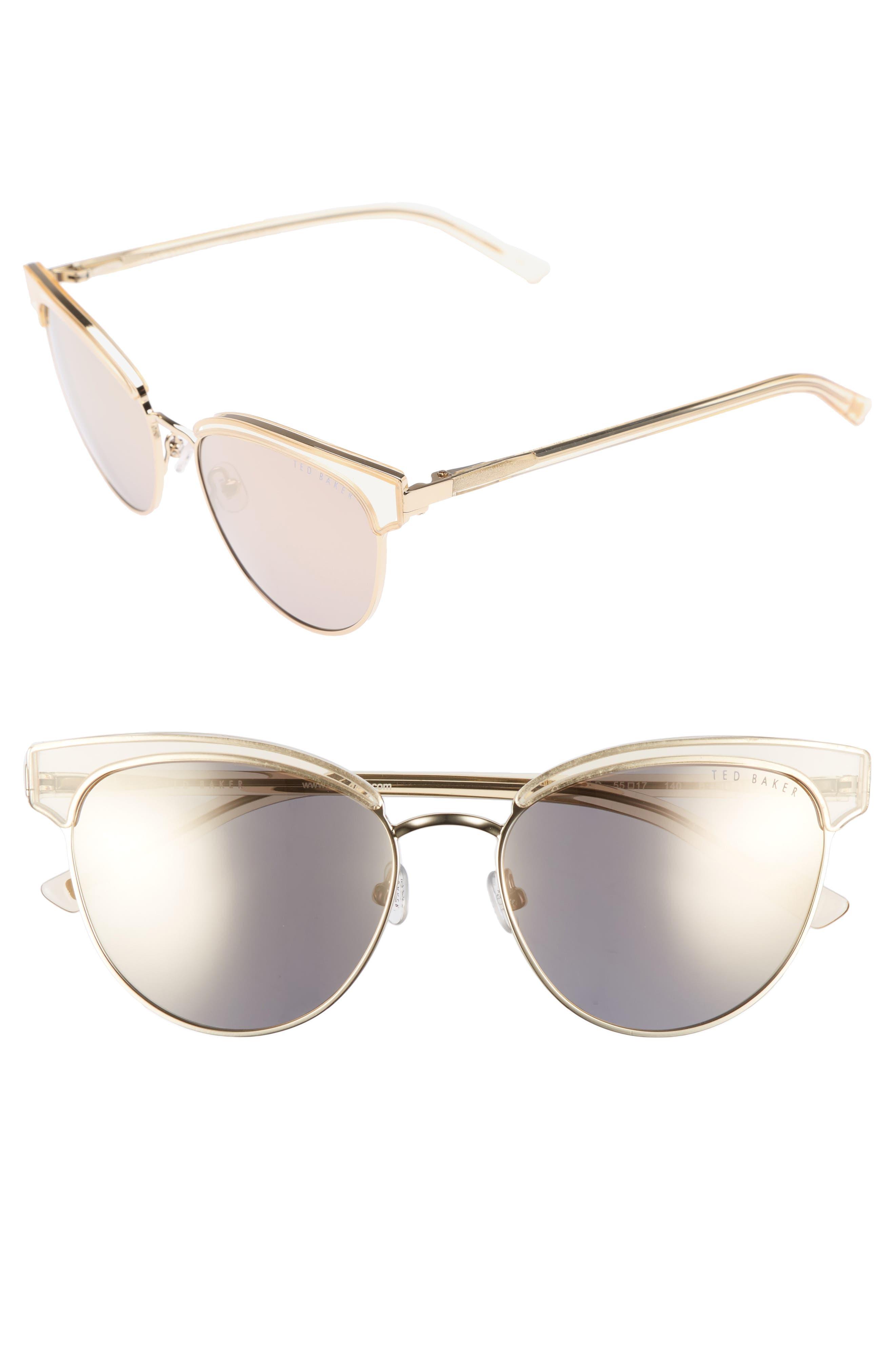 55mm Mirrored Semi Rimless Cat Eye Sunglasses,                         Main,                         color, 710