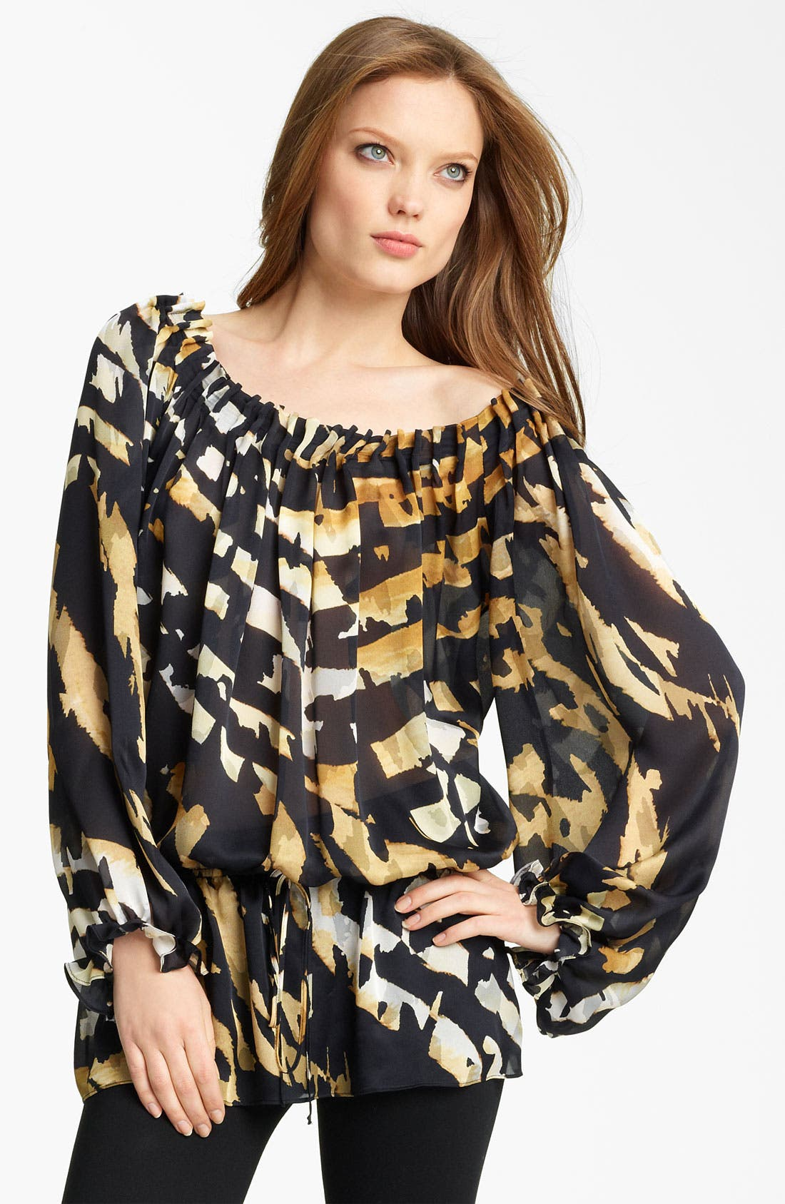Animal Print Silk Blouse,                         Main,                         color, 001