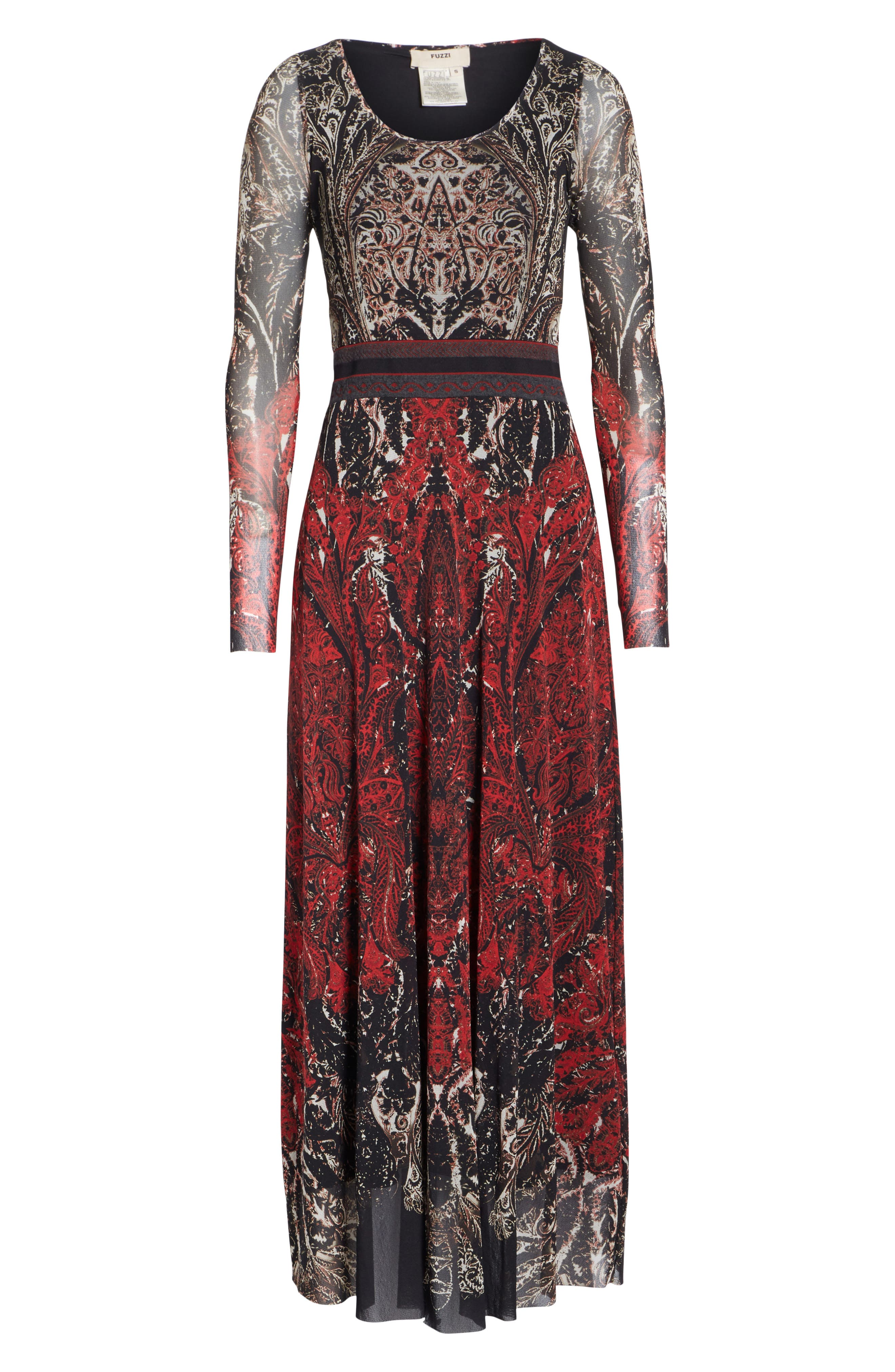 Paisley Tulle Two-Way Dress,                             Alternate thumbnail 8, color,                             ROSSO