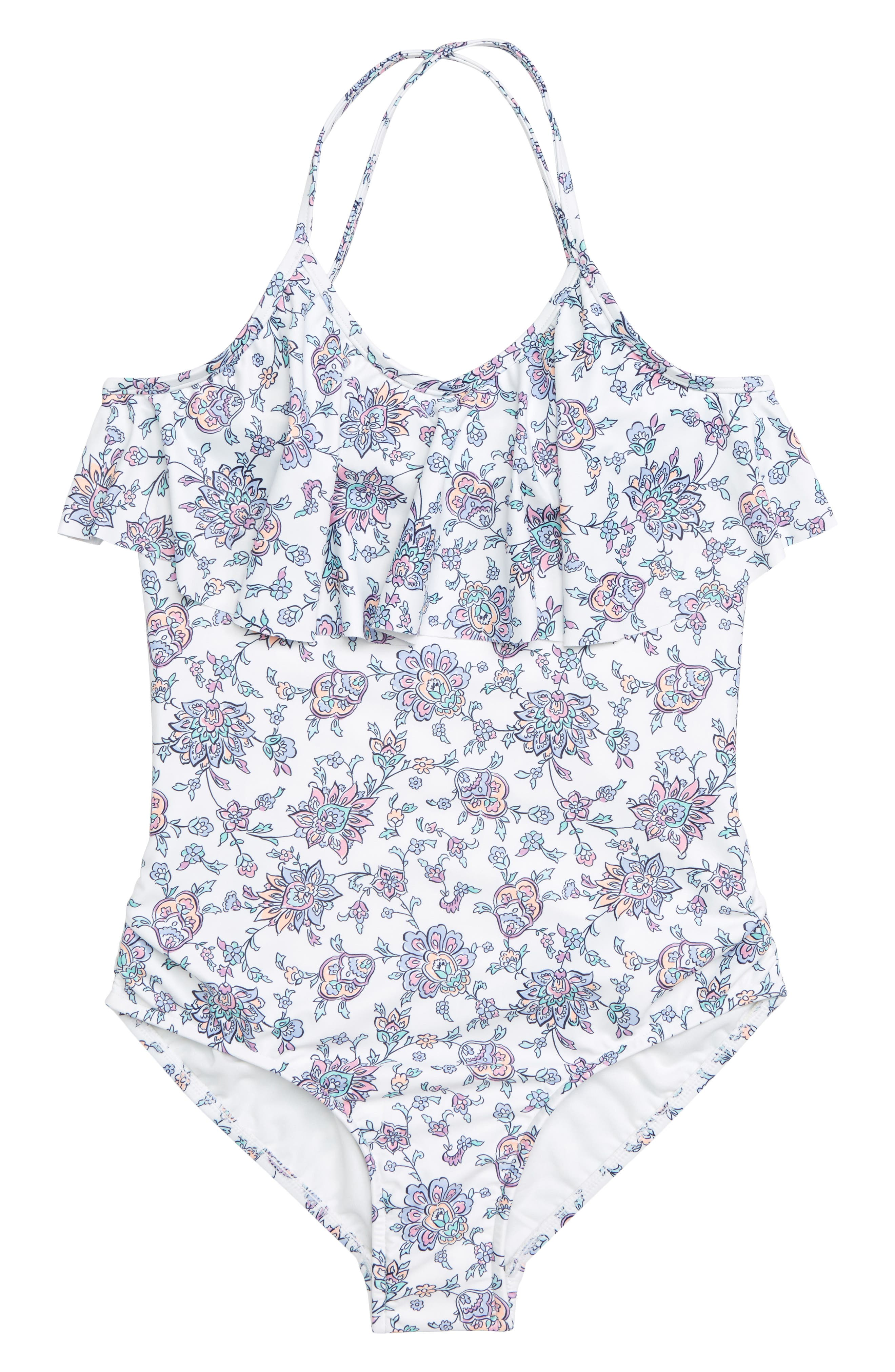 Pop Palace Ruffle One-Piece Swimsuit,                             Main thumbnail 1, color,                             WHITE FLORAL