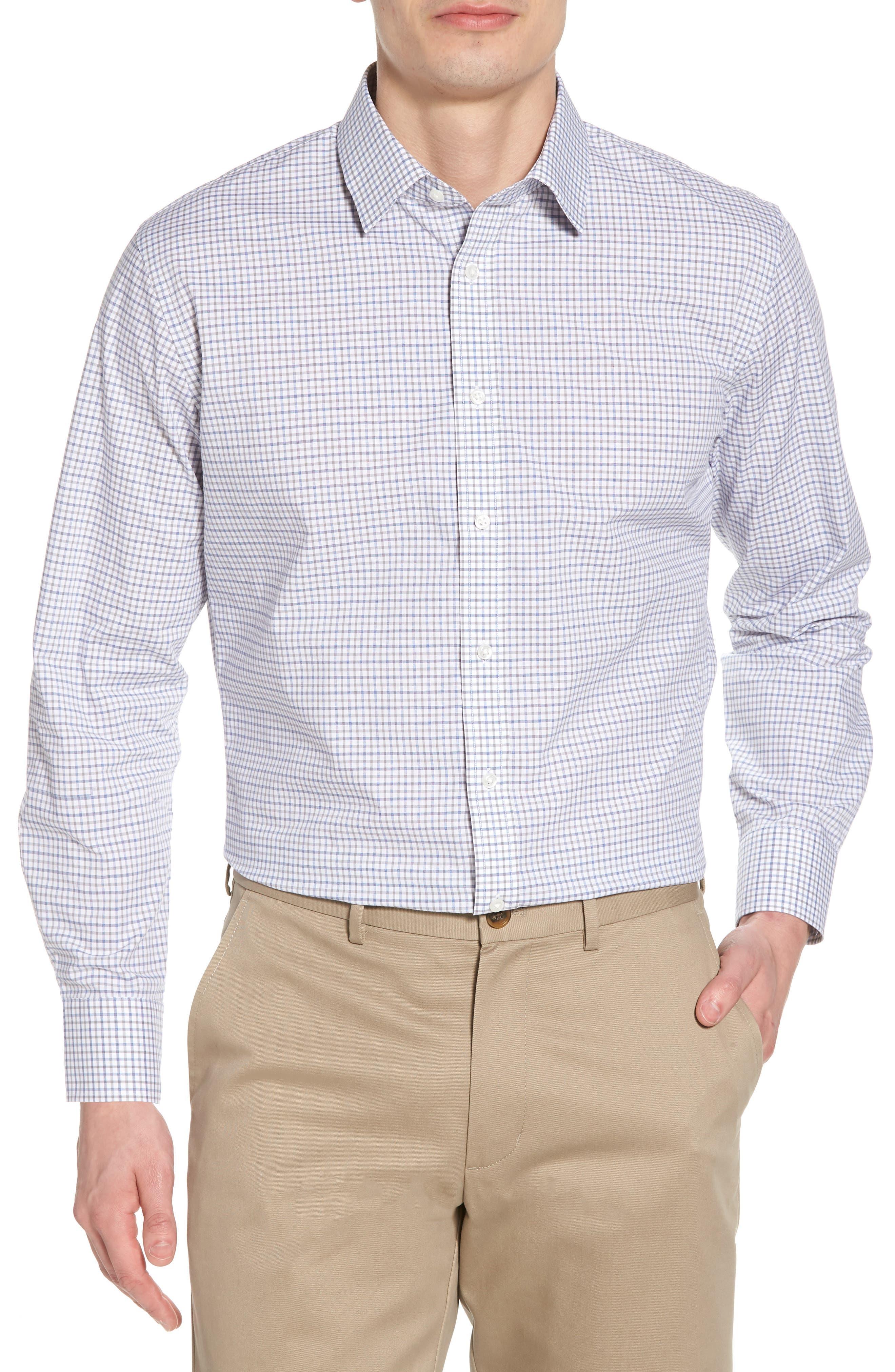 Trim Fit Check Dress Shirt,                         Main,                         color, 050