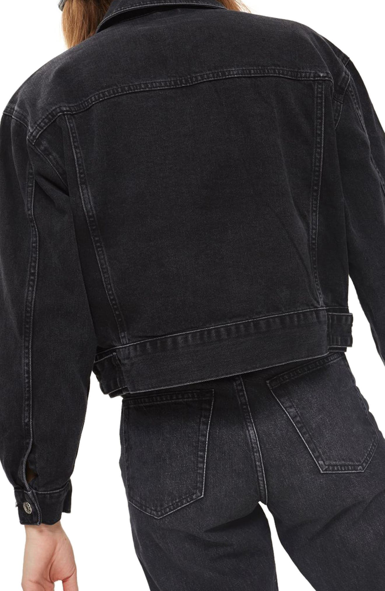Boxy Crop Denim Jacket,                             Alternate thumbnail 2, color,                             WASHED BLACK