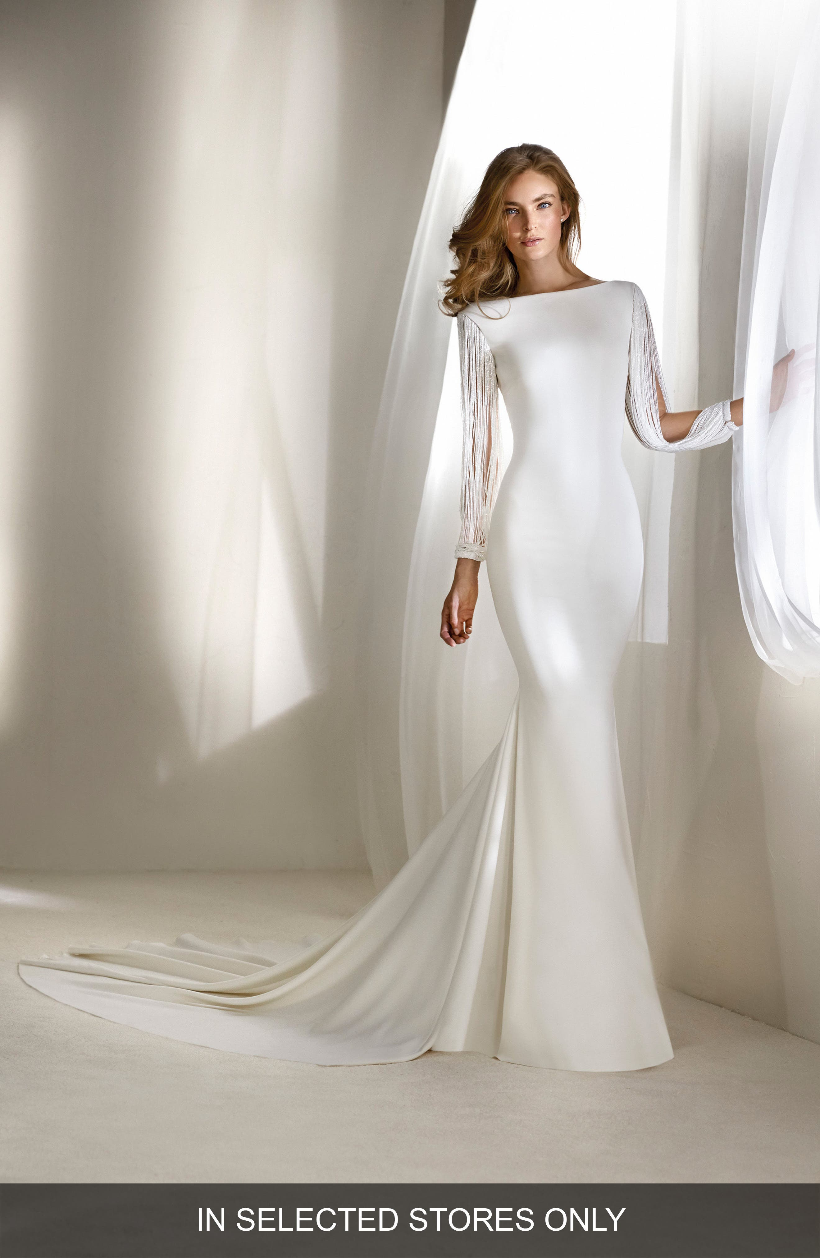 Relato Beaded Long Sleeve Mermaid Gown,                             Main thumbnail 1, color,                             OFF WHITE