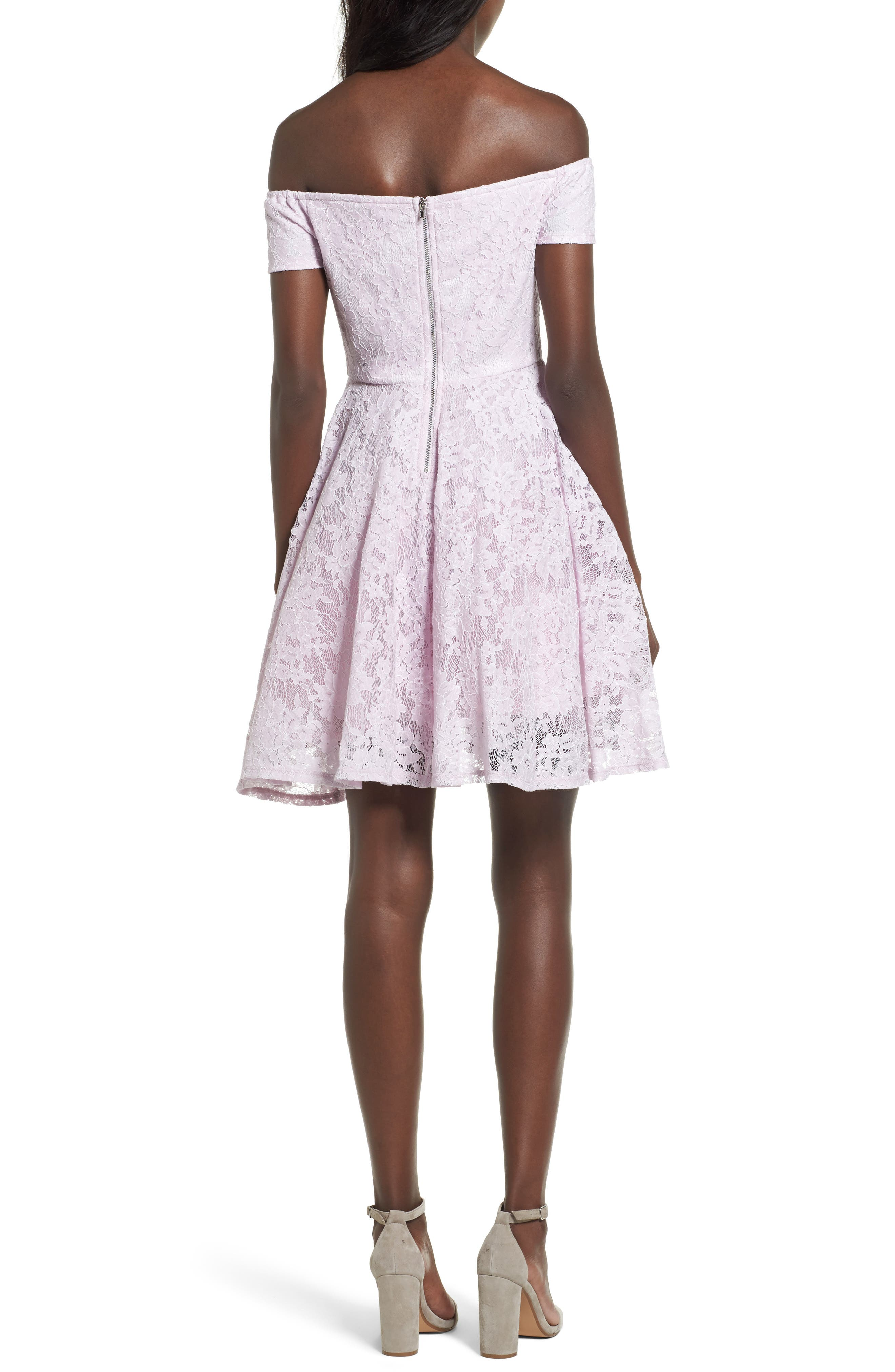 Lace Off the Shoulder Fit & Flare Dress,                             Alternate thumbnail 9, color,