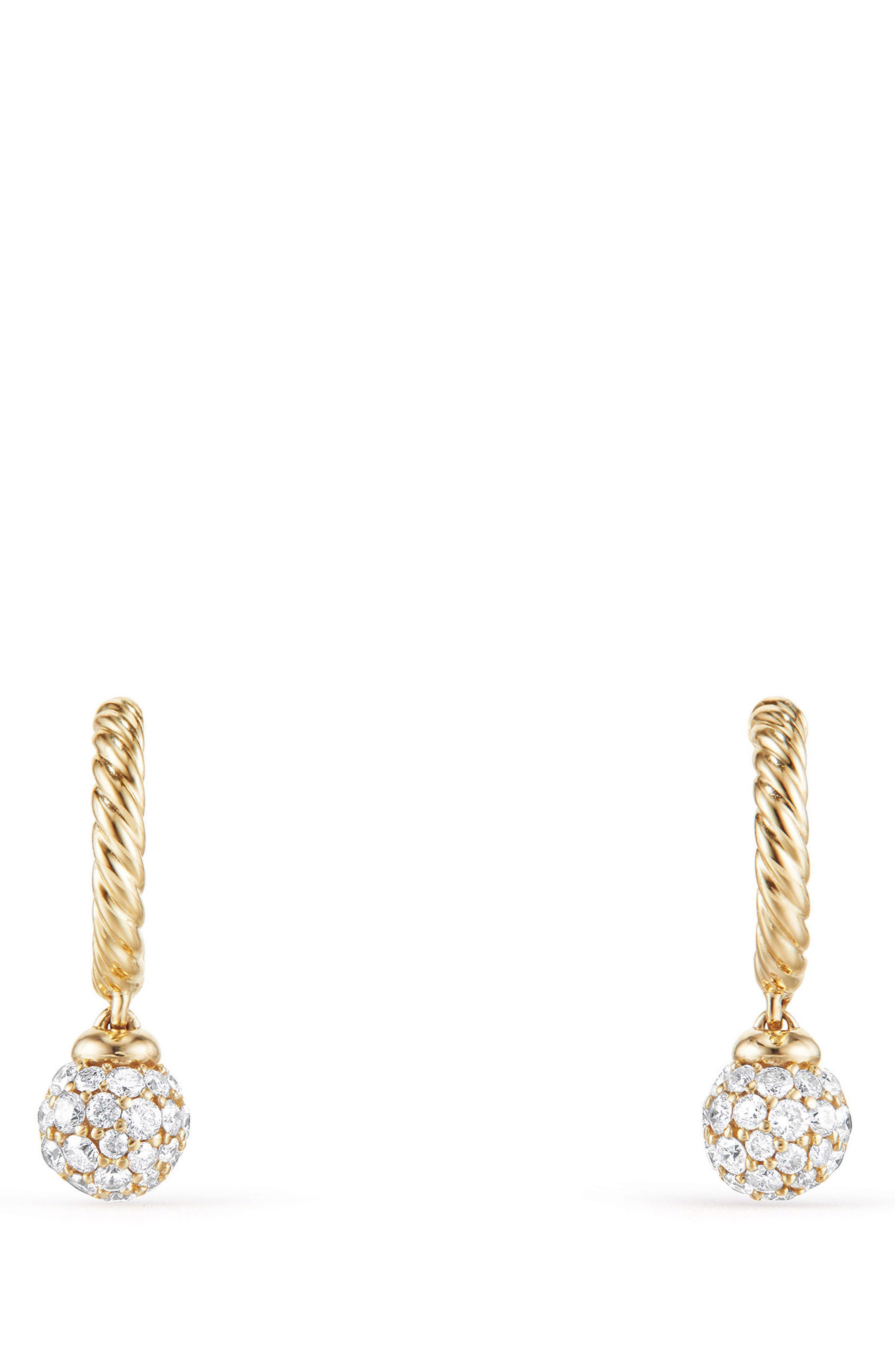 Petite Solari Hoop Pavé Earrings with Diamonds in 18K Gold,                             Alternate thumbnail 2, color,                             YELLOW GOLD/ DIAMOND