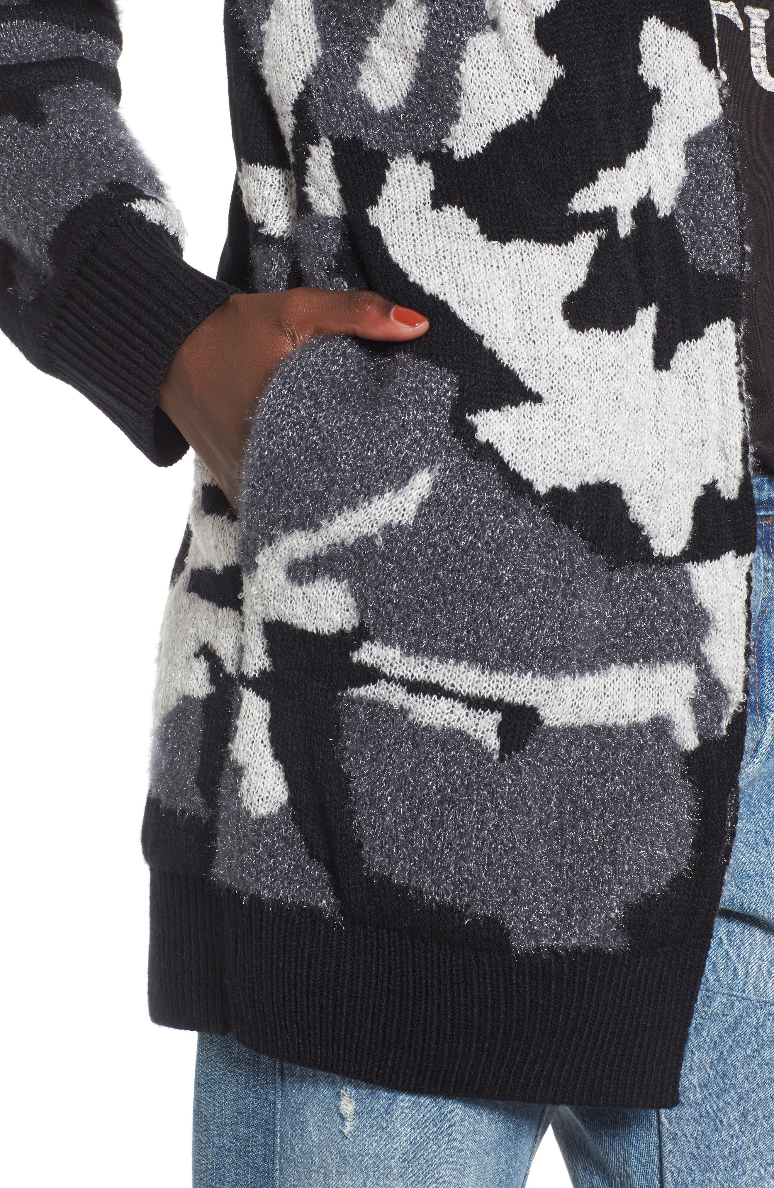 Camouflage Knit Cardigan,                             Alternate thumbnail 4, color,                             001