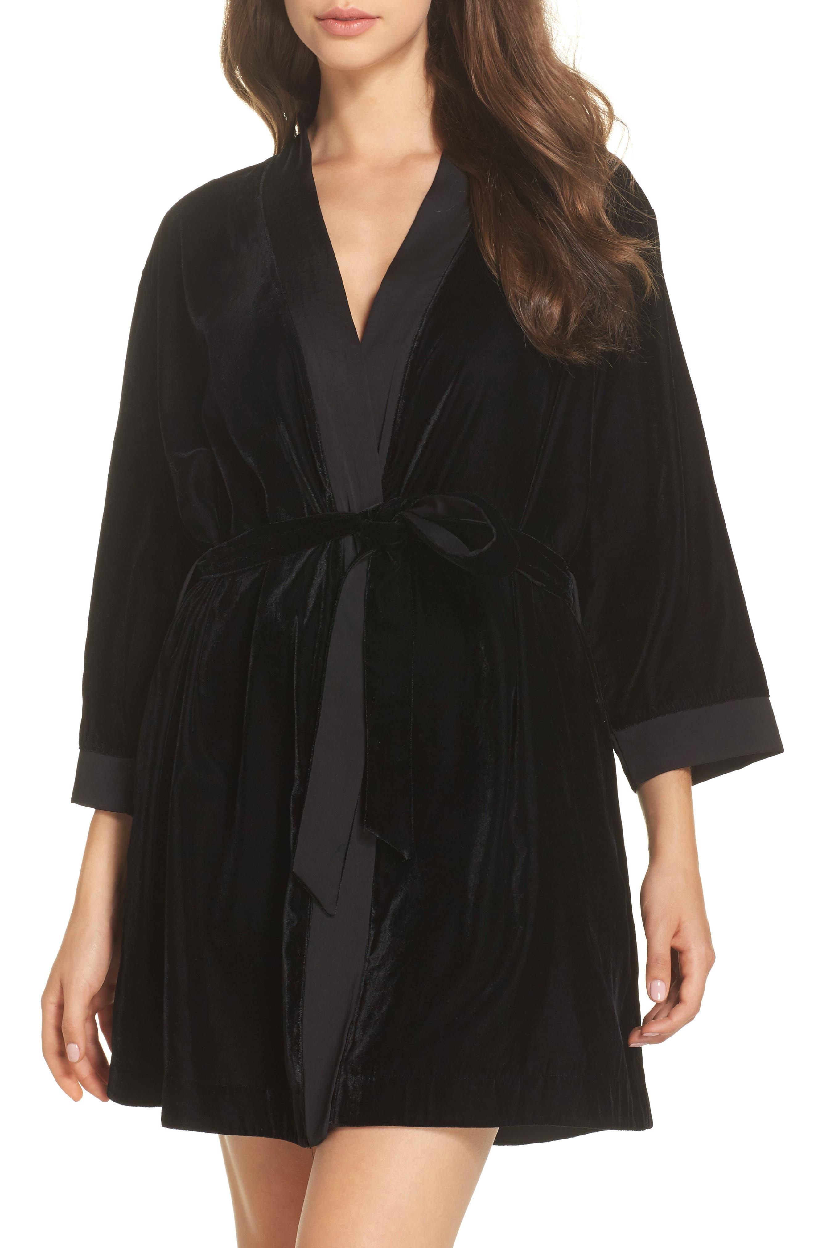 Velvet Short Robe,                             Main thumbnail 1, color,                             001