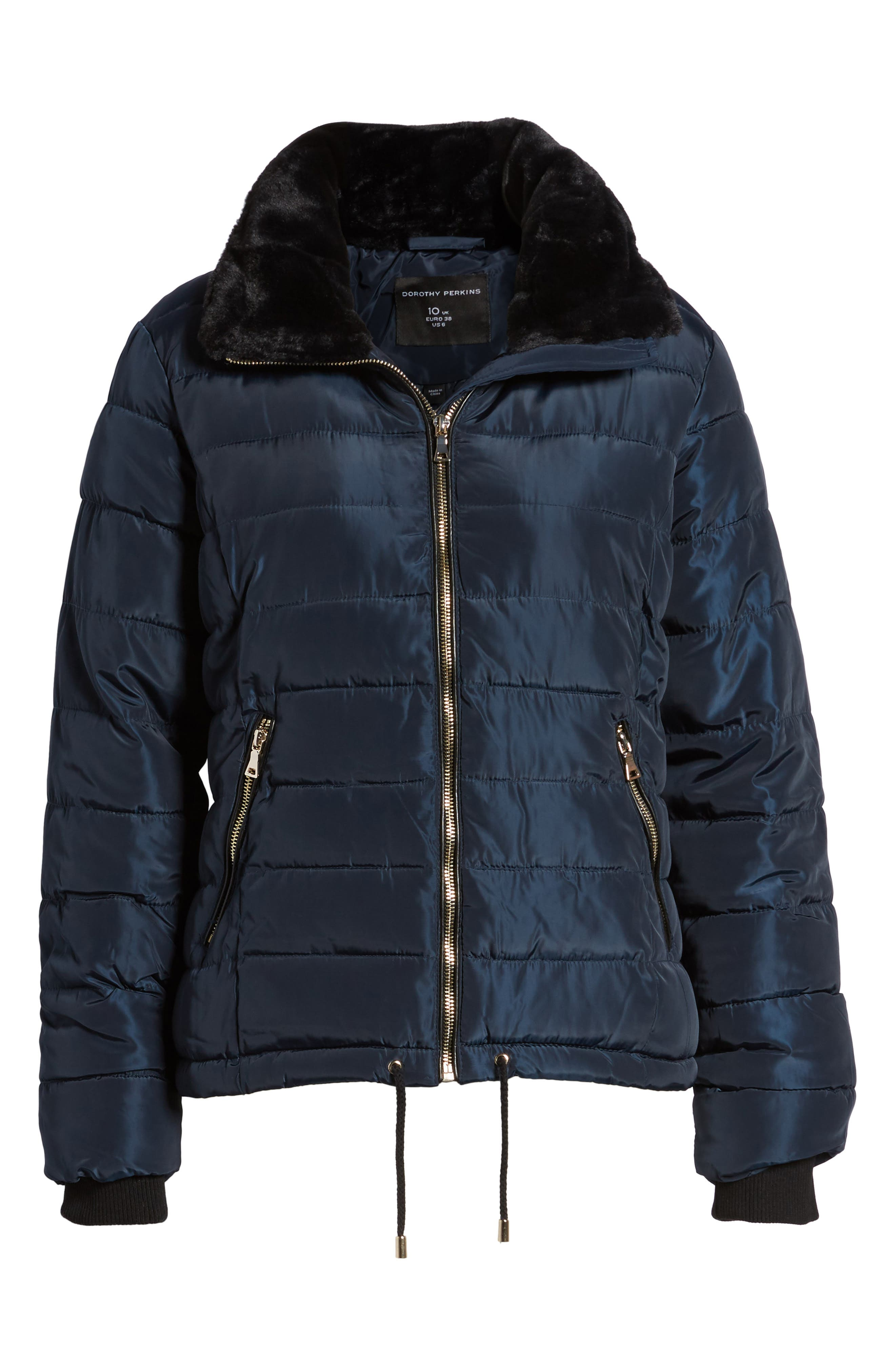 Puffer Jacket with Faux Fur Collar Lining,                             Alternate thumbnail 5, color,                             400