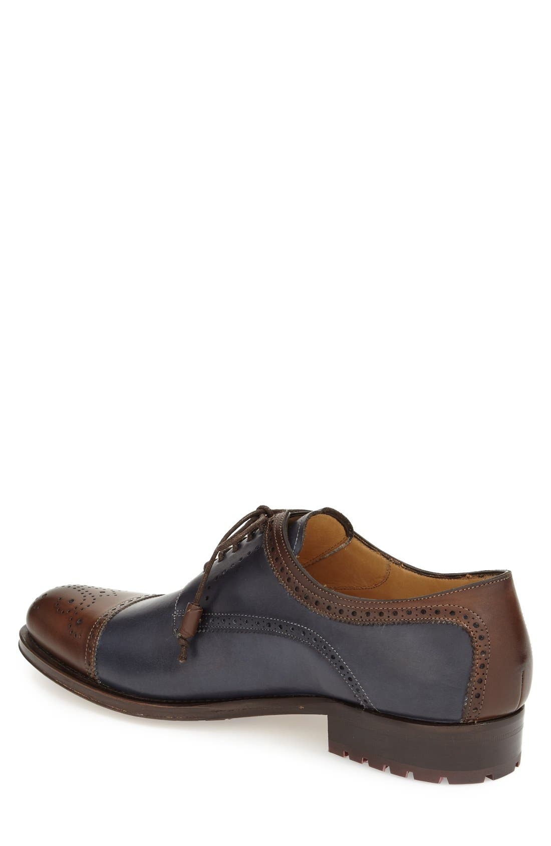 'Carlino' Cap Toe Oxford,                             Alternate thumbnail 2, color,                             BROWN/ BLUE