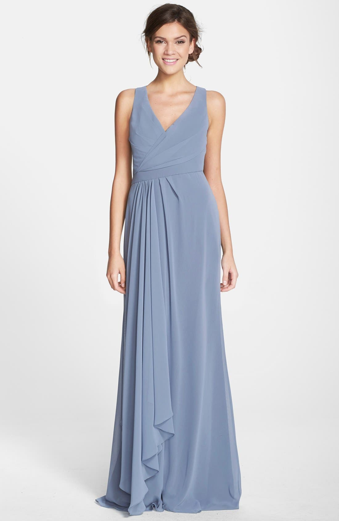 Sleeveless V-Neck Chiffon Gown,                             Main thumbnail 1, color,                             461
