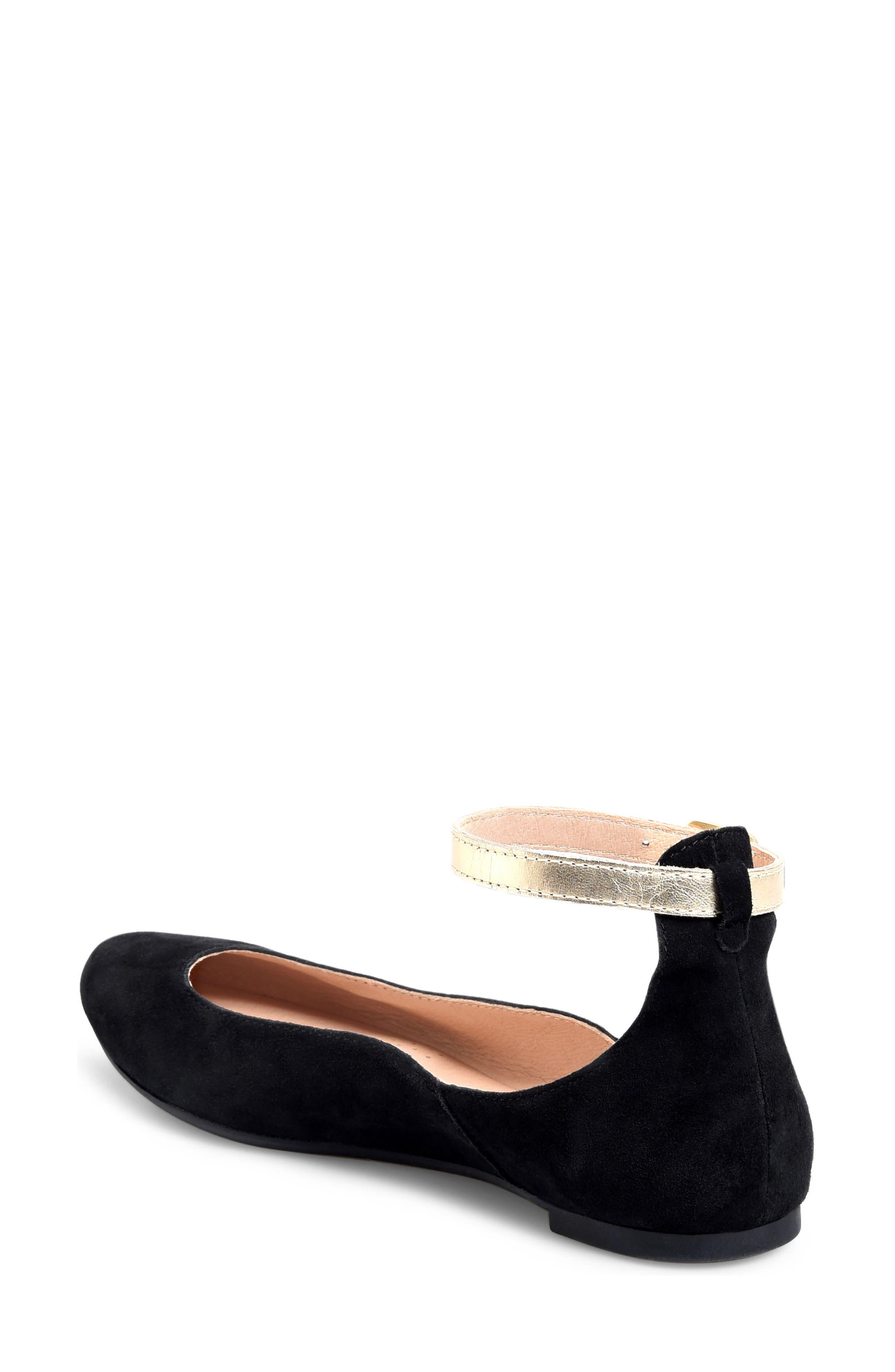 Luchia Ankle Strap Flat,                             Alternate thumbnail 2, color,                             BLACK/ GOLD LEATHER