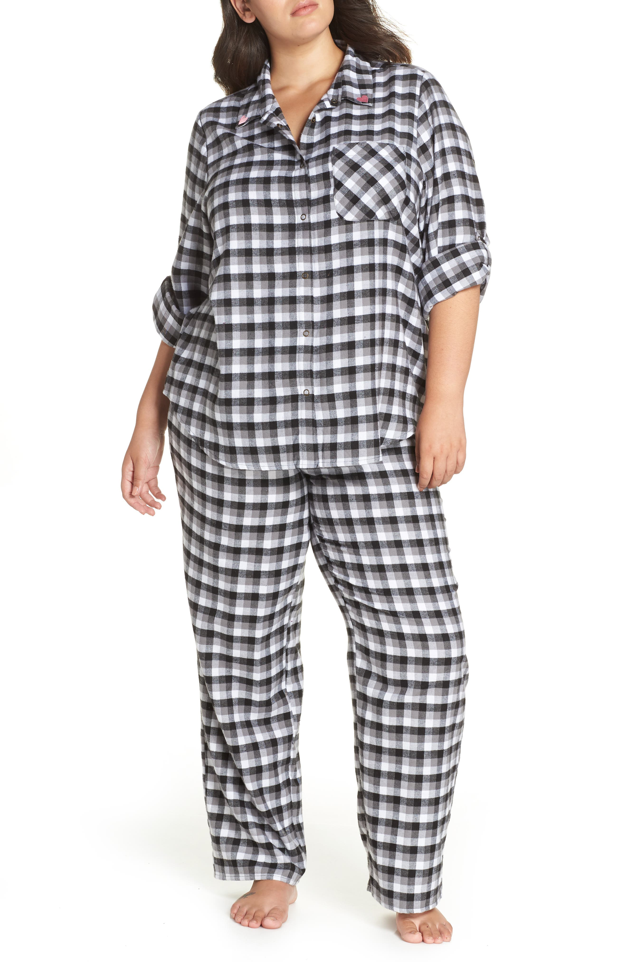 Flannel Pajamas,                             Main thumbnail 1, color,                             002