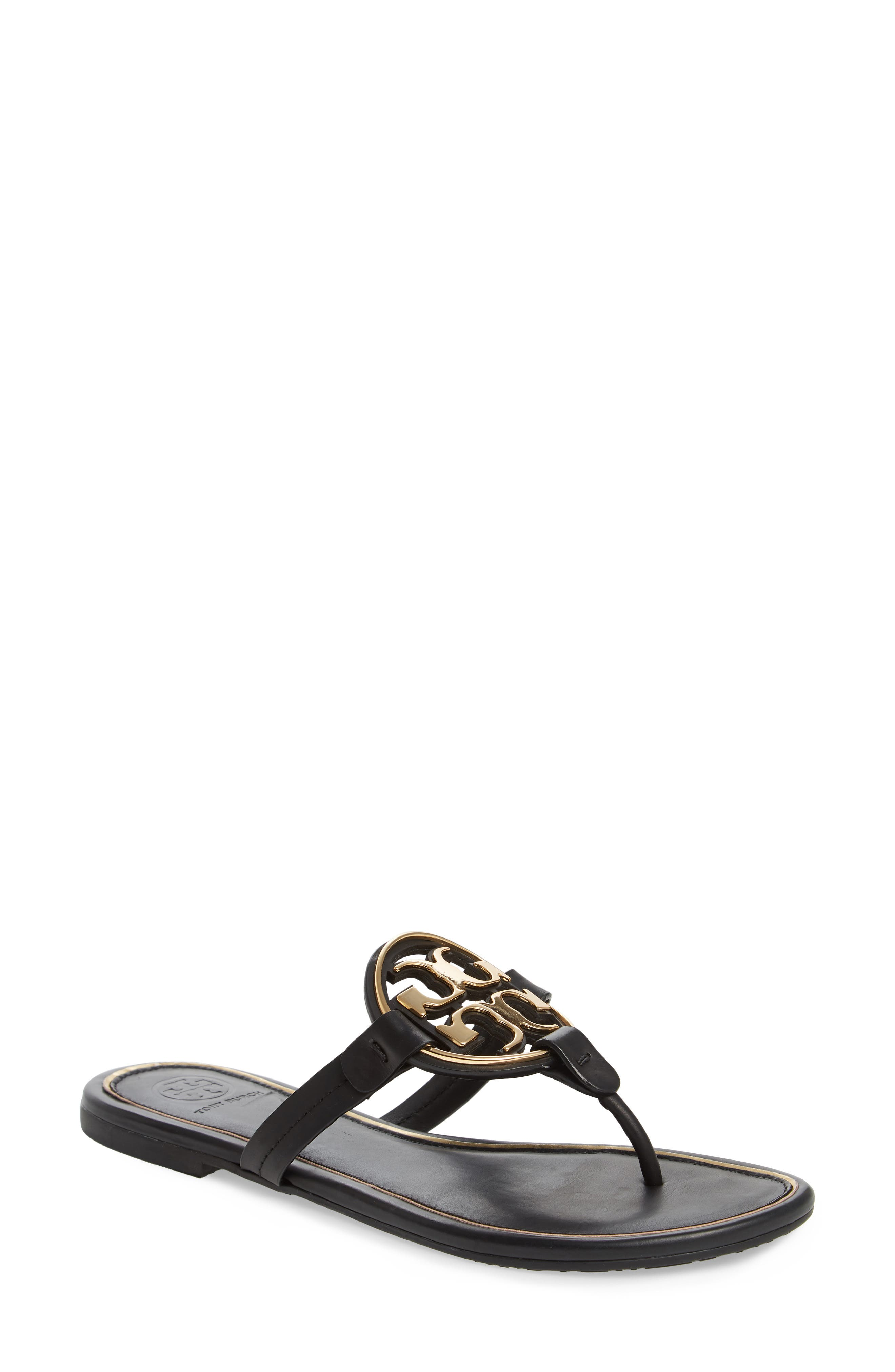 TORY BURCH,                             Metal Miller Flip Flop,                             Main thumbnail 1, color,                             PERFECT BLACK/ GOLD