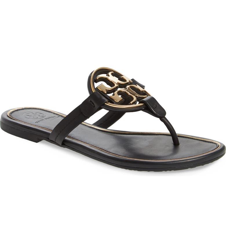 TORY BURCH Metal Miller Flip Flop, Main, color, PERFECT BLACK/ GOLD