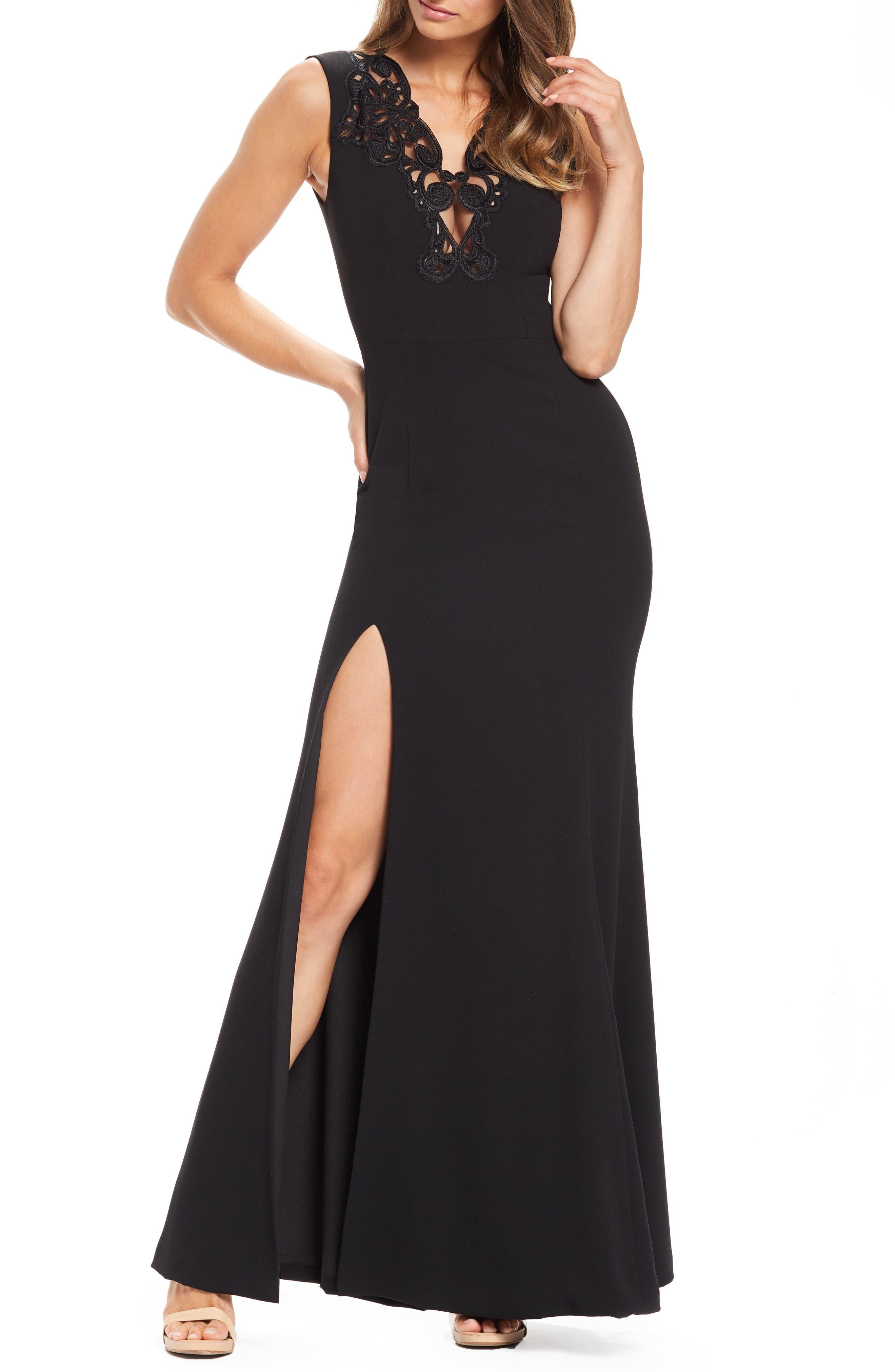 Dress The Population Cassandra Embroidered Evening Dress, Black