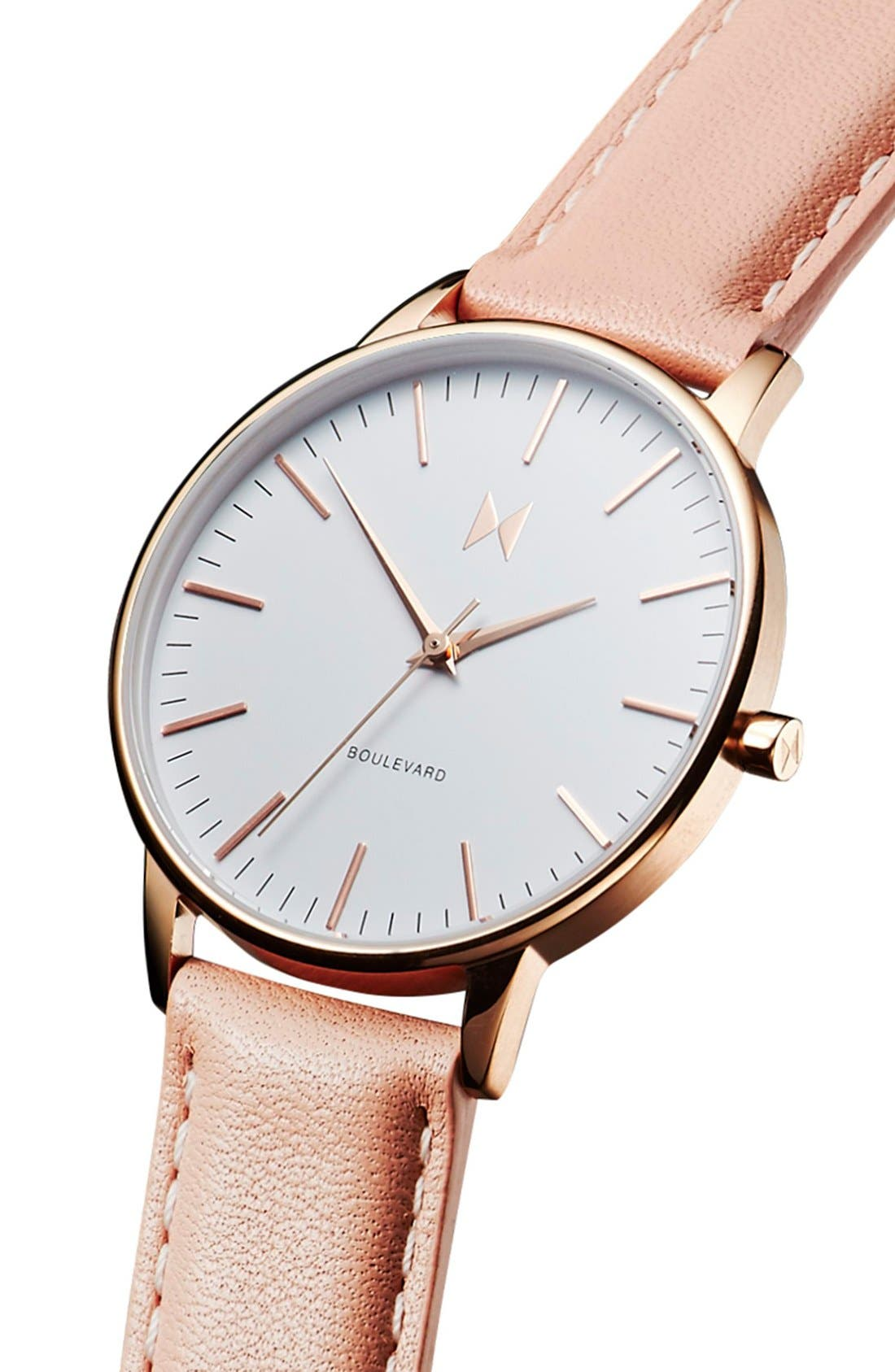 Boulevard Leather Strap Watch, 38mm,                             Alternate thumbnail 4, color,                             PEACH/ WHITE/ ROSE GOLD