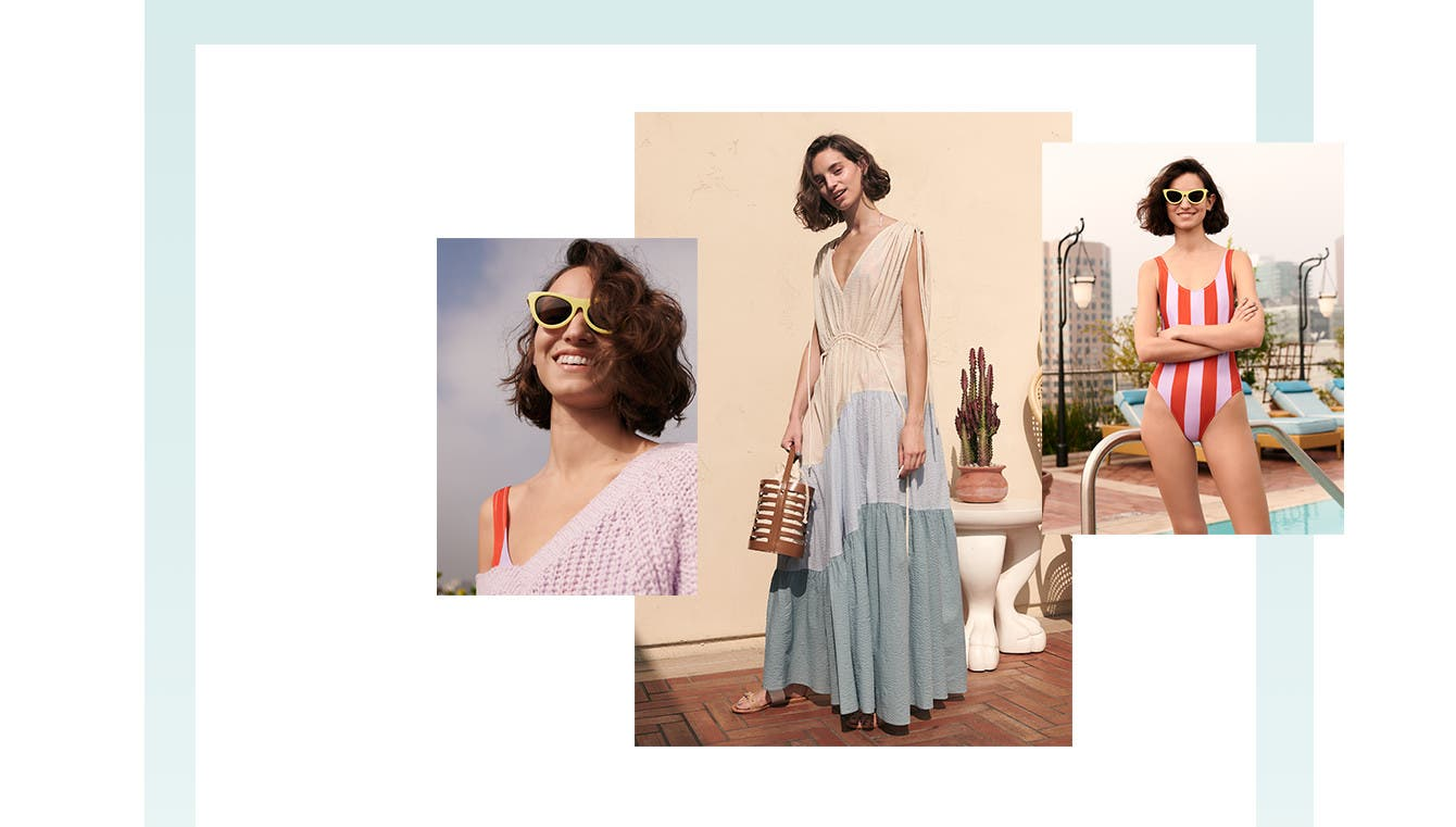 Relax and recharge in women's vacation clothing, shoes and accessories.