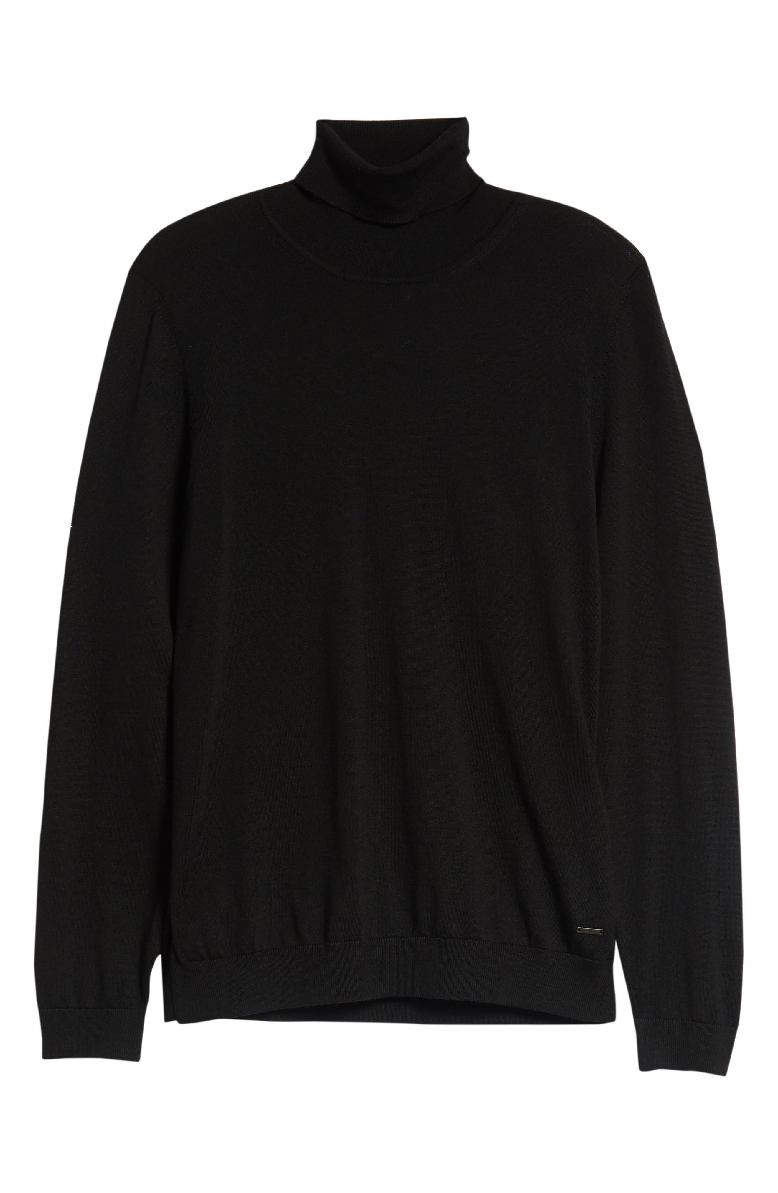 Musso Slim Fit Wool Turtleneck Sweater,                             Alternate thumbnail 6, color,                             BLACK