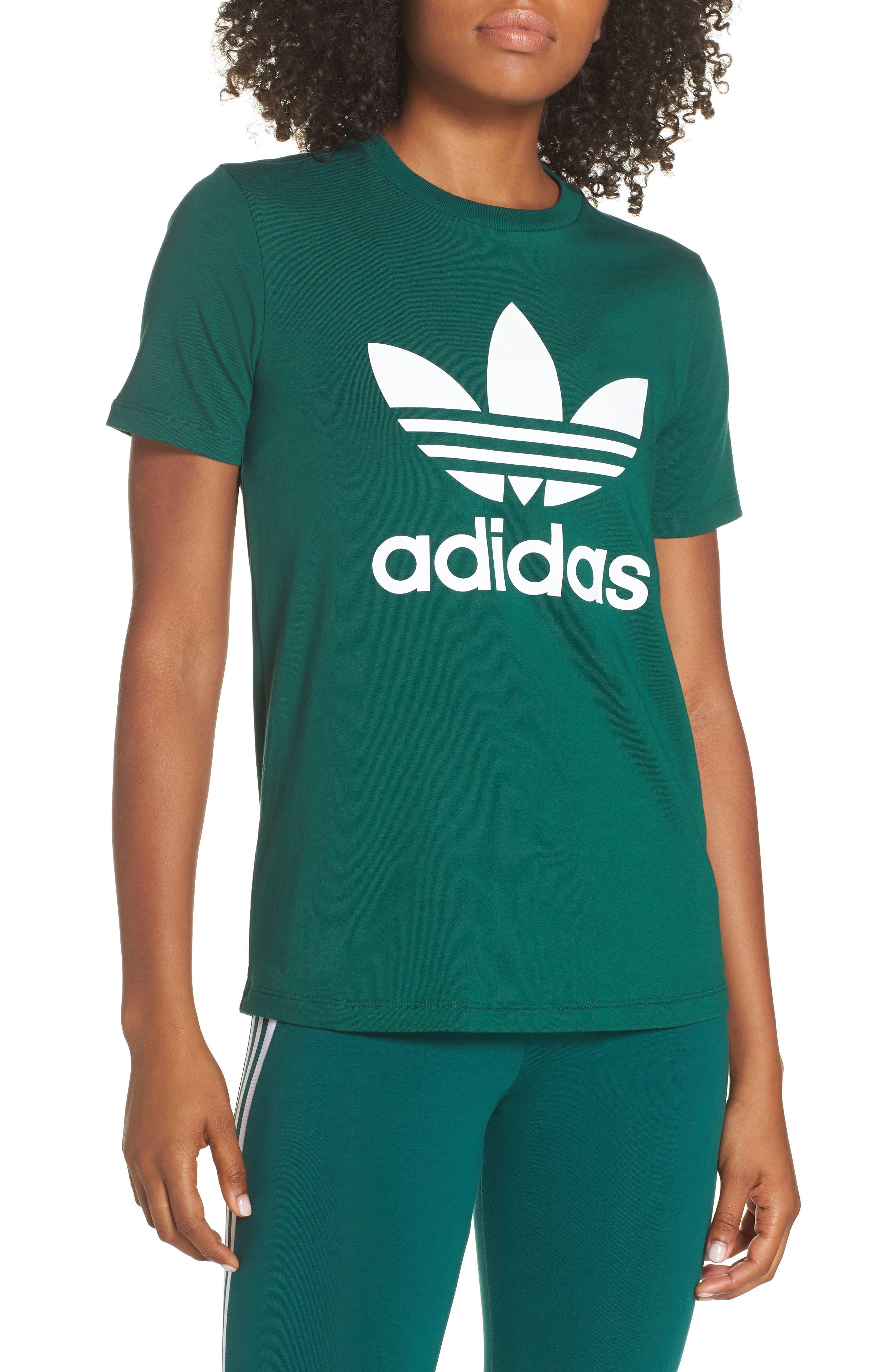 adidas Trefoil Tee,                             Main thumbnail 1, color,                             COLLEGIATE GREEN