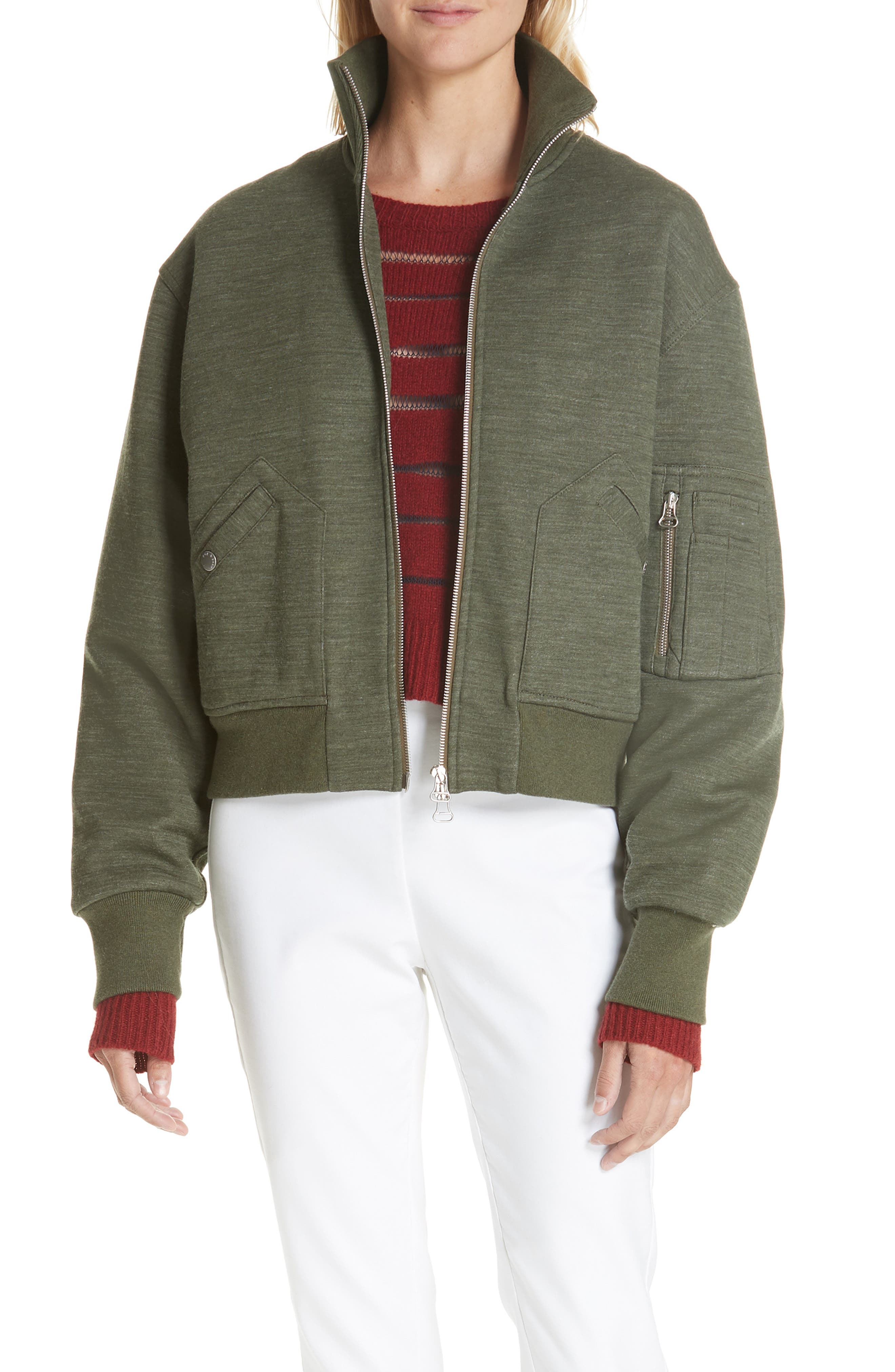 Aviator Wool-Blend Bomber Jacket in Heather Green