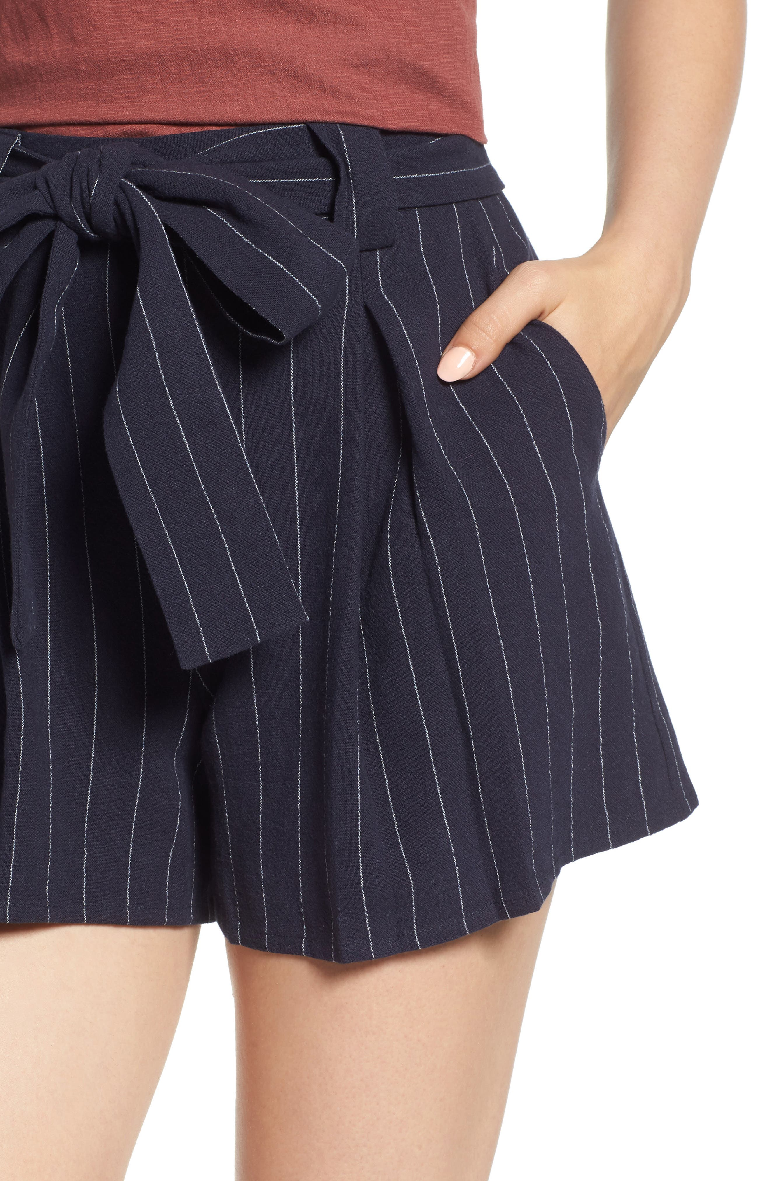 Stripe Tie Waist Shorts,                             Alternate thumbnail 4, color,                             BLUE STRIPE