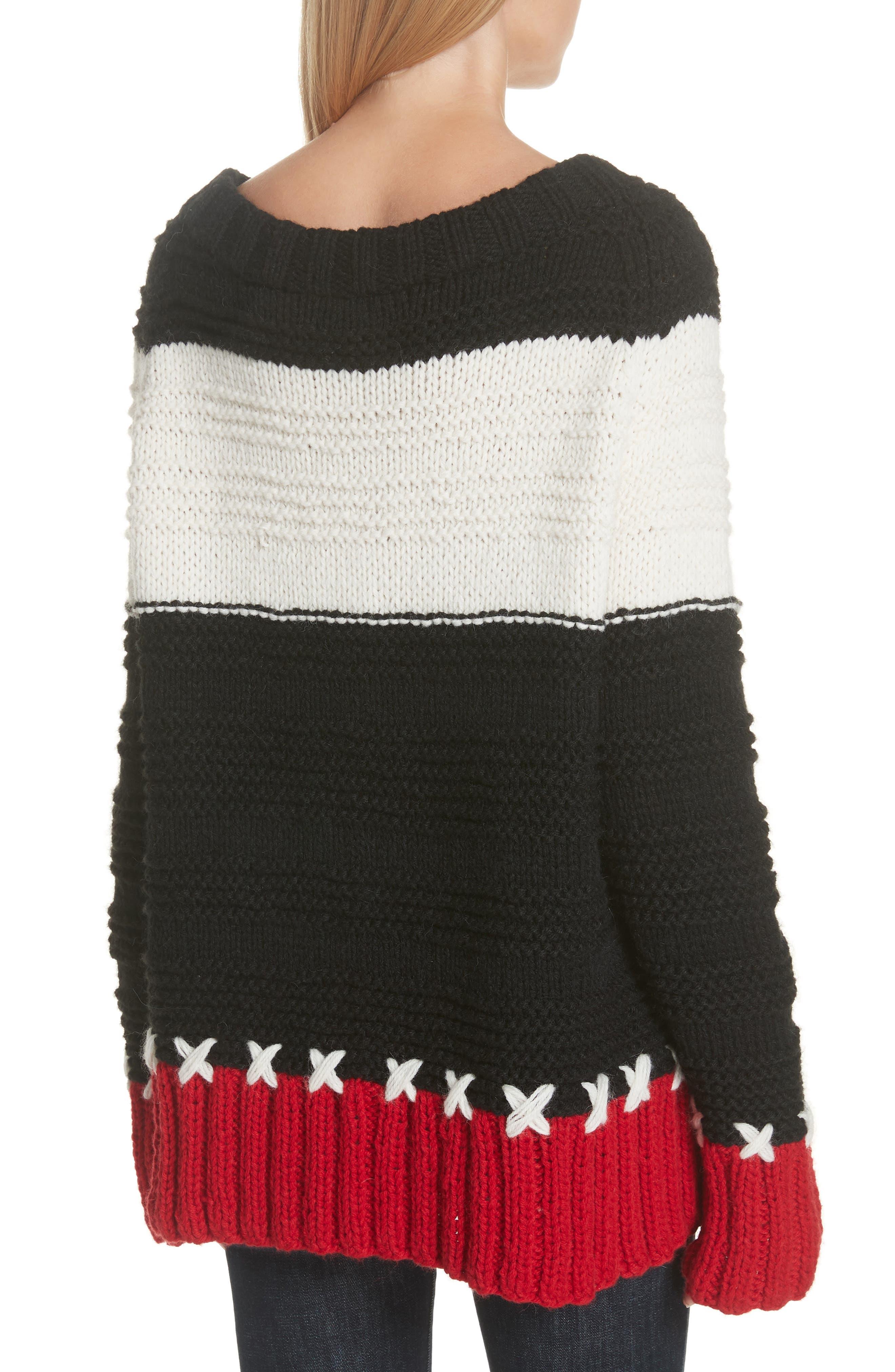SMYTHE,                             Stripe Cross Stitched Alpaca Blend Sweater,                             Alternate thumbnail 2, color,                             001