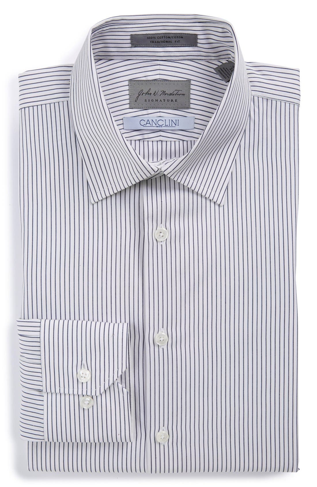 John W. Nordstrom Signature Trim Fit Stripe Dress Shirt,                             Main thumbnail 1, color,                             402
