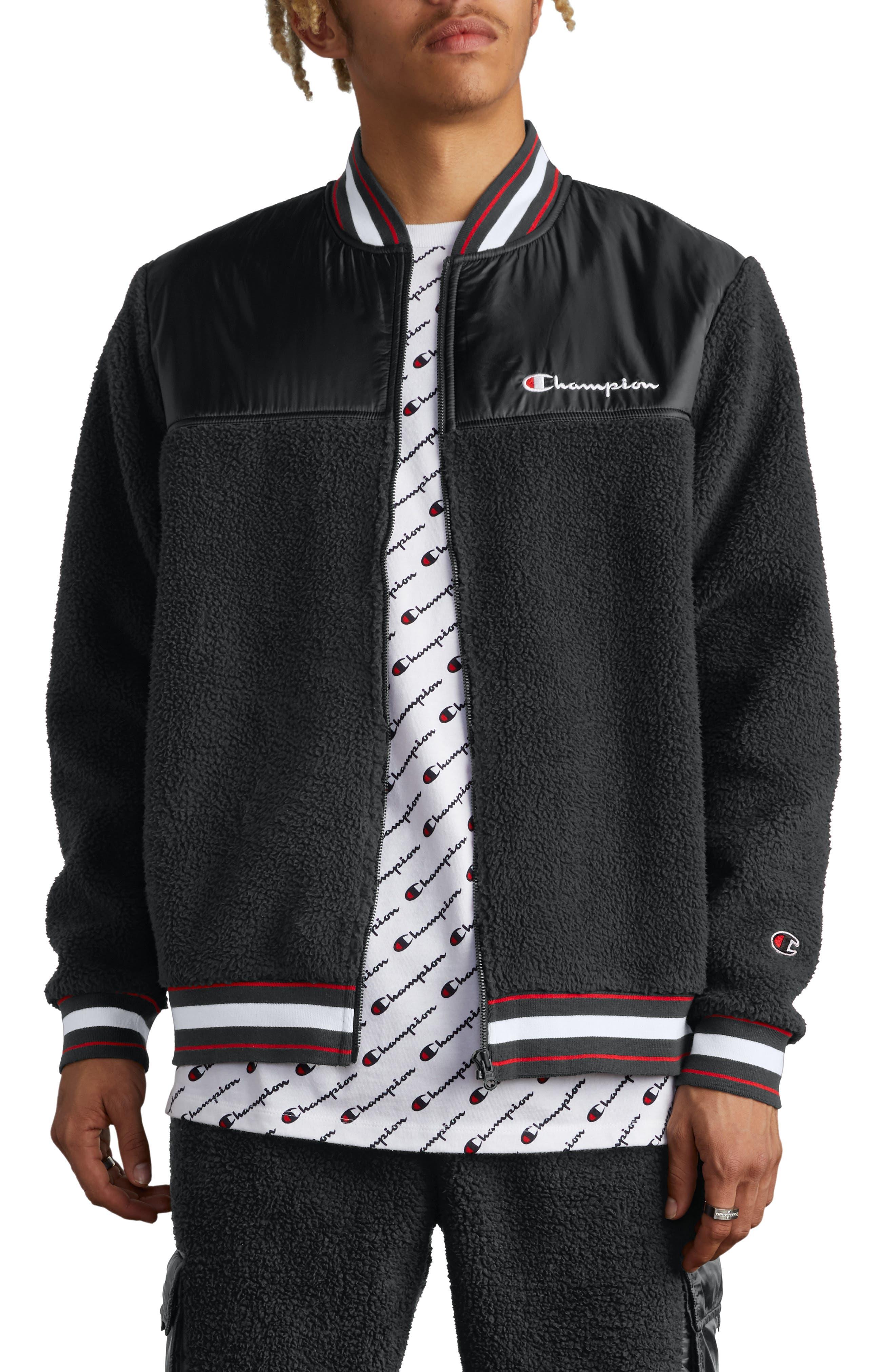 CHAMPION,                             Fleece Baseball Jacket,                             Main thumbnail 1, color,                             BLACK