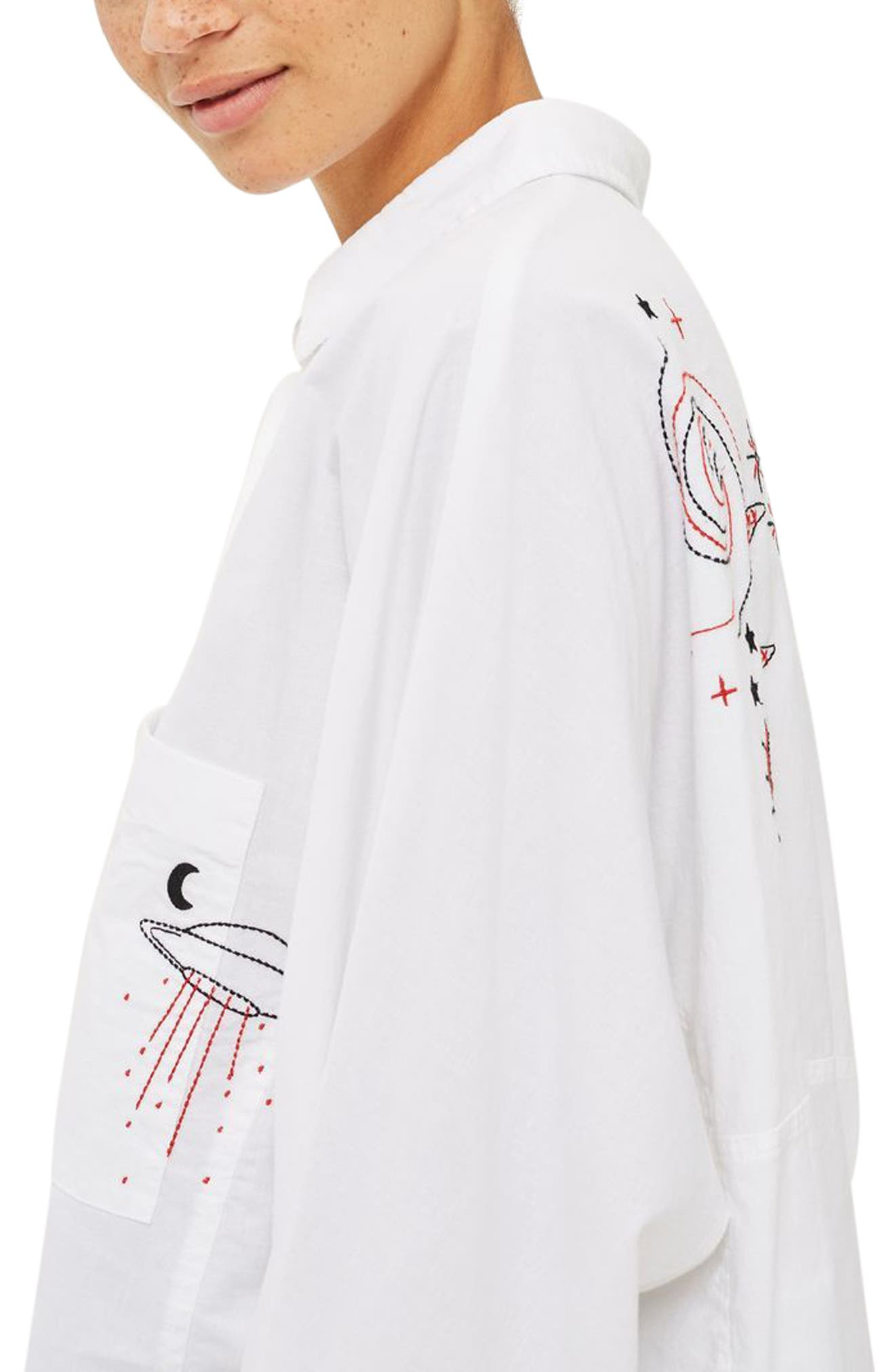 Doodle Believer Embroidered Shirt,                             Alternate thumbnail 3, color,                             900