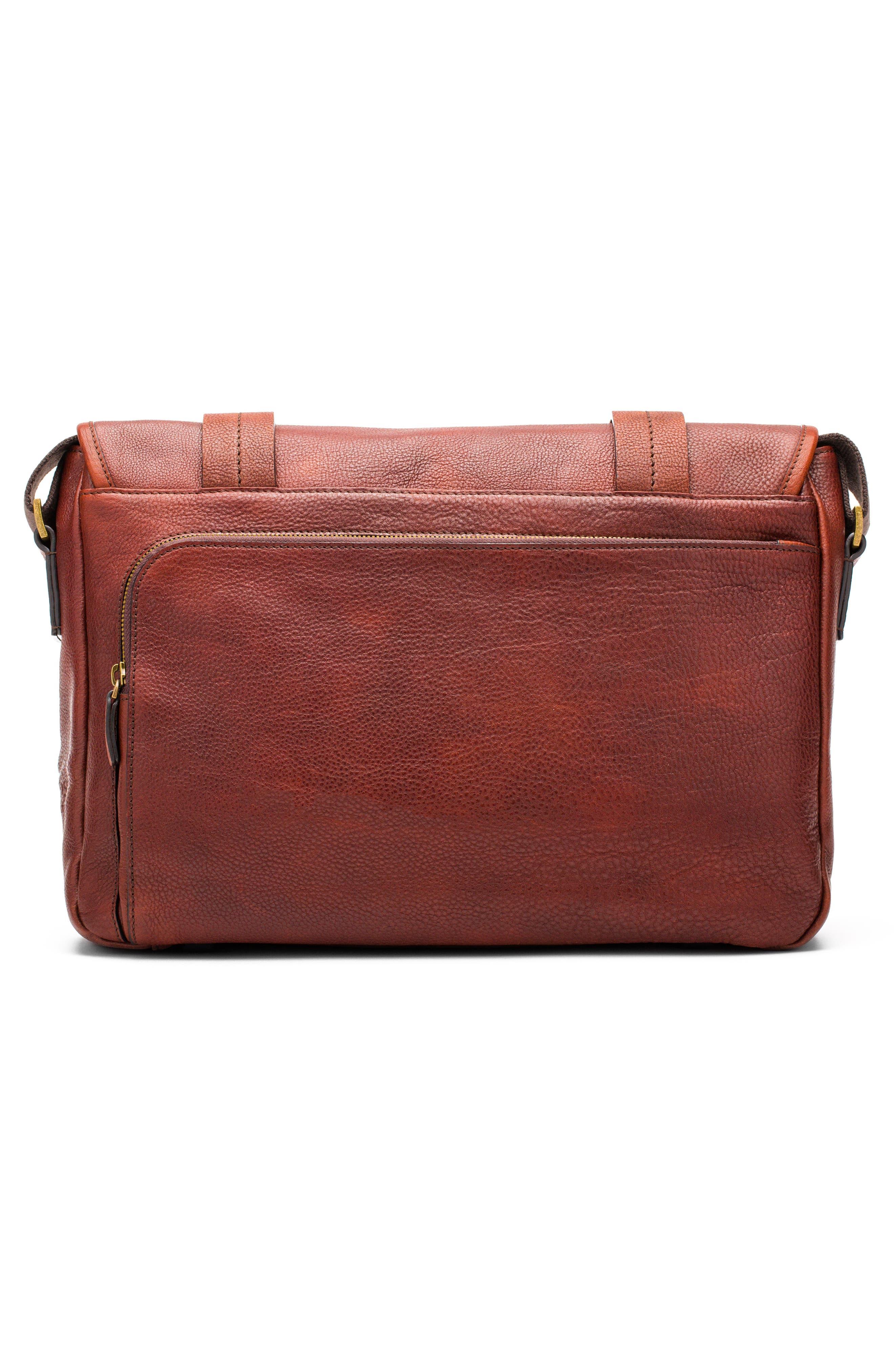 Leather Messenger Bag,                             Alternate thumbnail 2, color,                             DARK BROWN