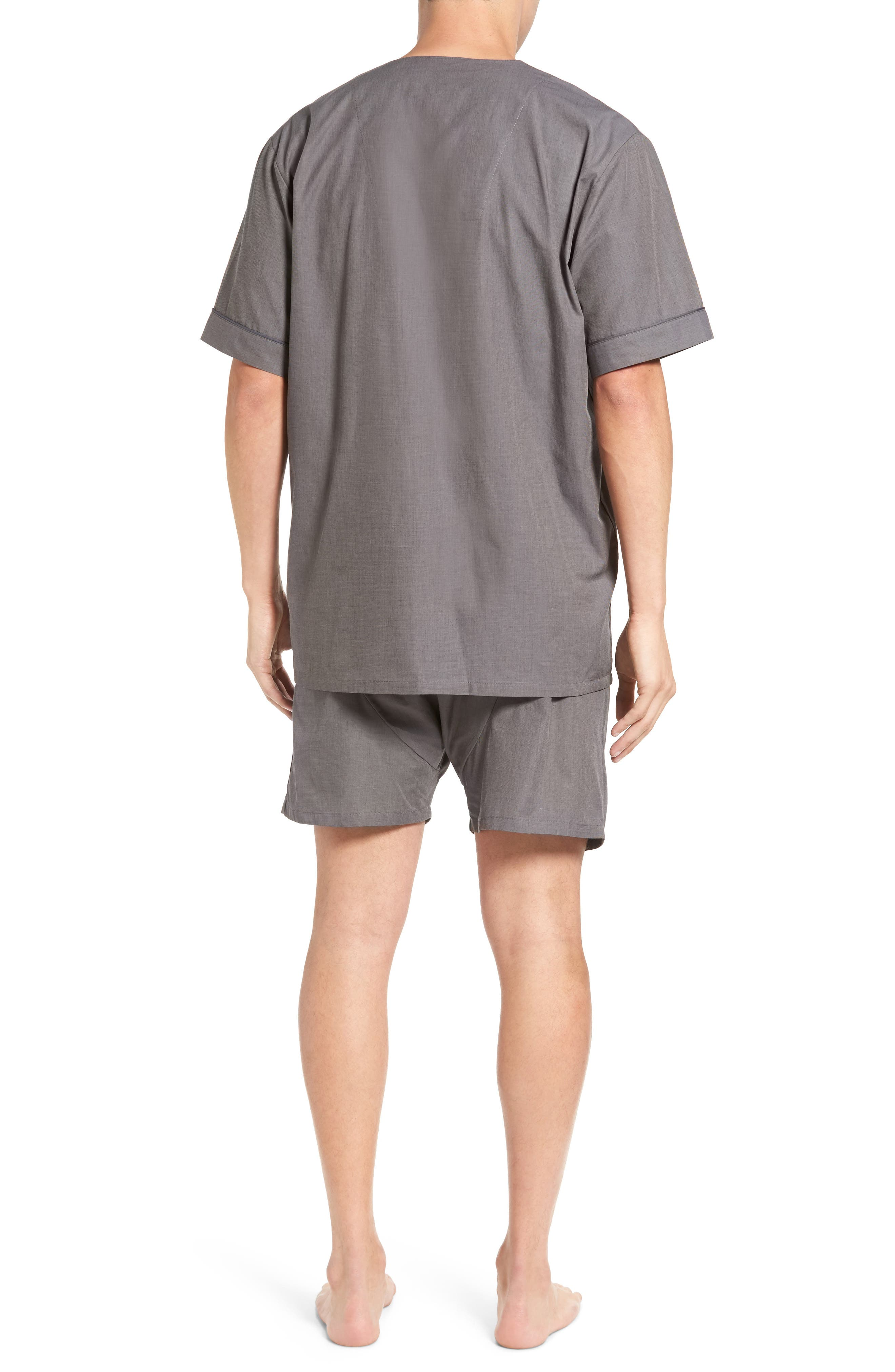 Cotton Short Pajamas,                             Alternate thumbnail 2, color,                             CHARCOAL