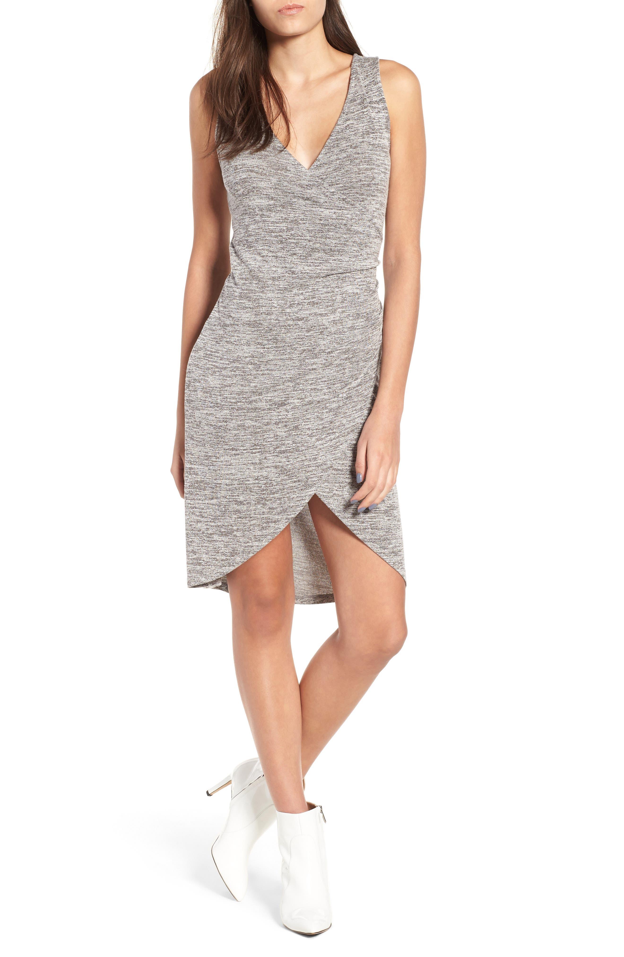 Leith Melange Wrap Dress, Grey