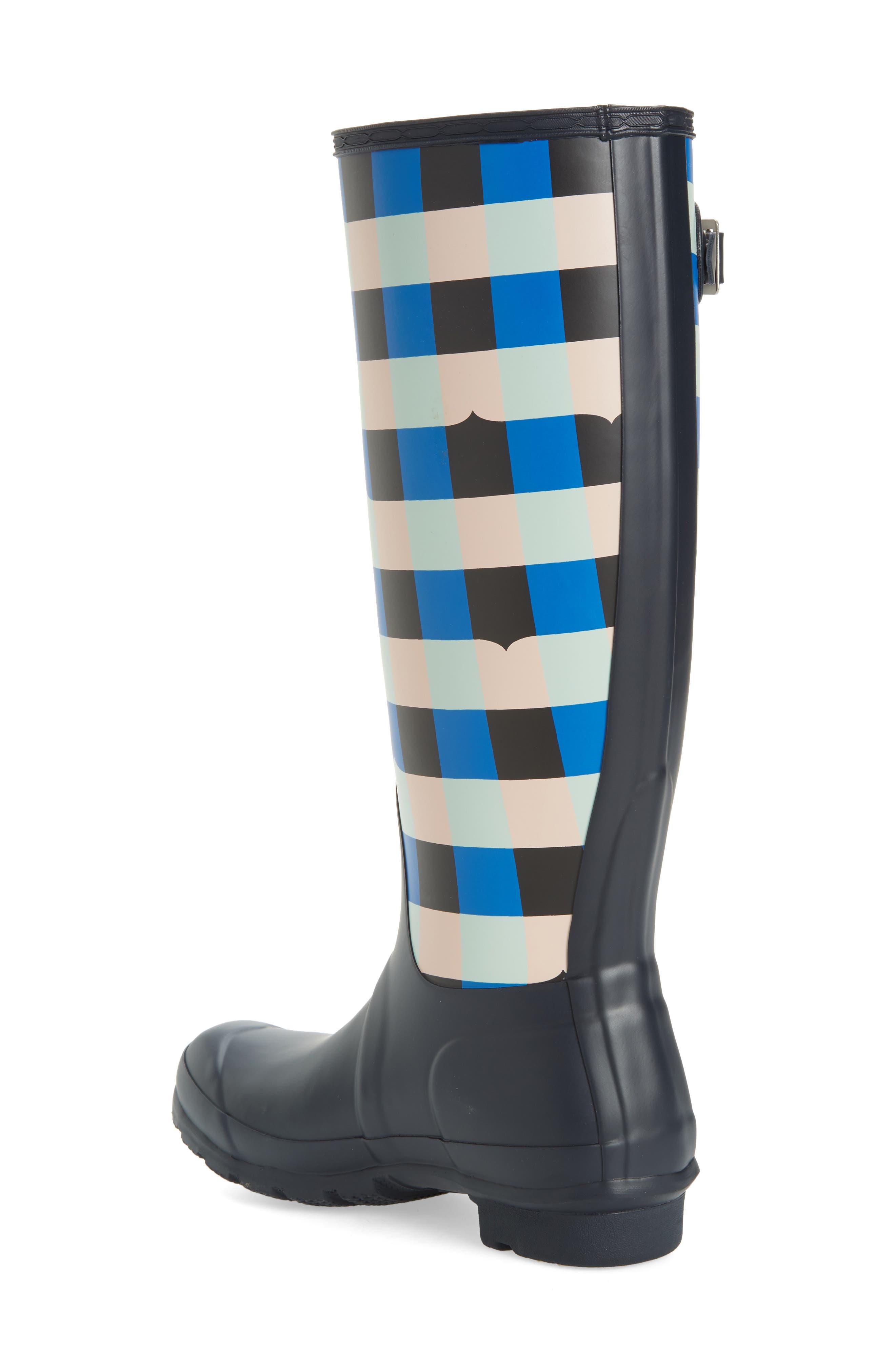 HUNTER,                             Original Tall Gingham Waterproof Rain Boot,                             Alternate thumbnail 2, color,                             410