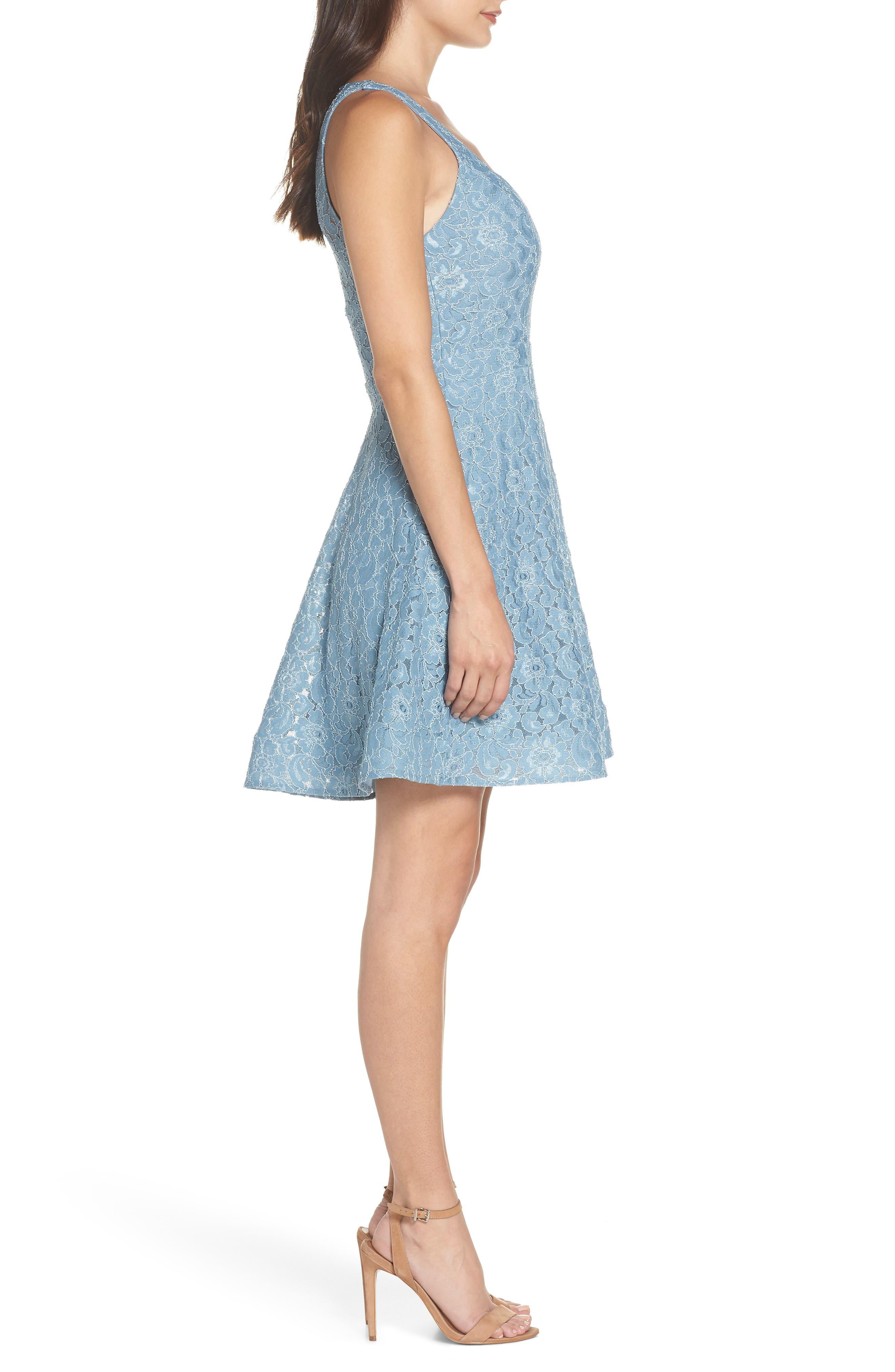 Notch Front Lace Fit & Flare Dress,                             Alternate thumbnail 3, color,                             BLUE