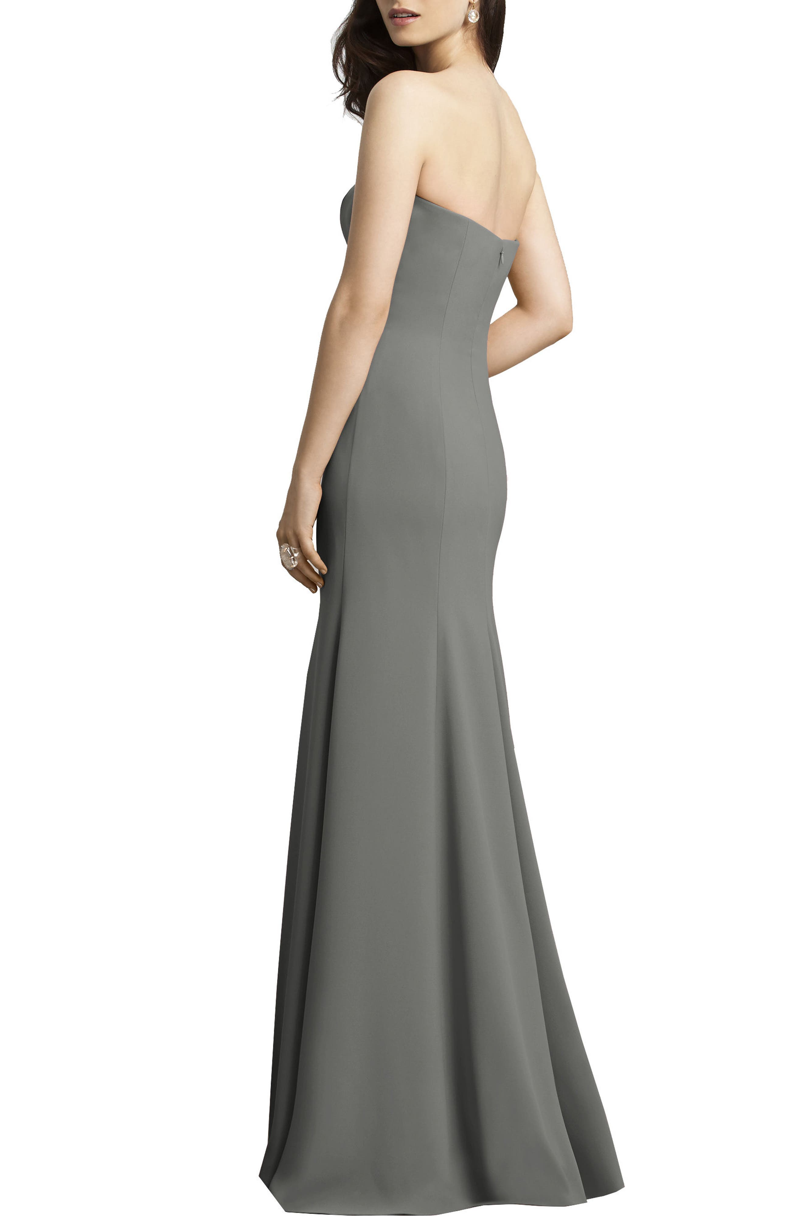Strapless Crepe Trumpet Gown,                             Alternate thumbnail 7, color,