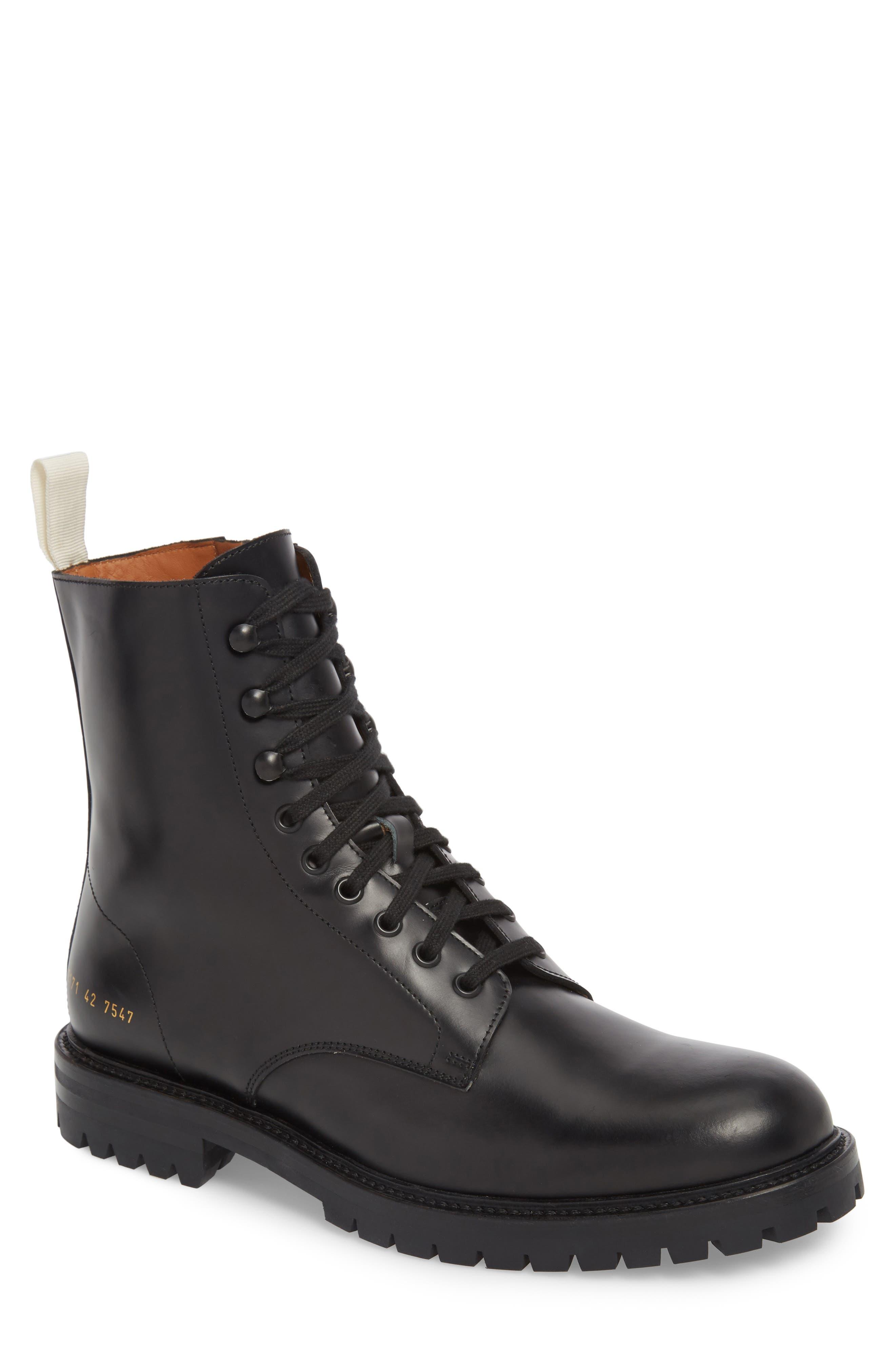 Zipper Combat Boot,                         Main,                         color, BLACK LEATHER