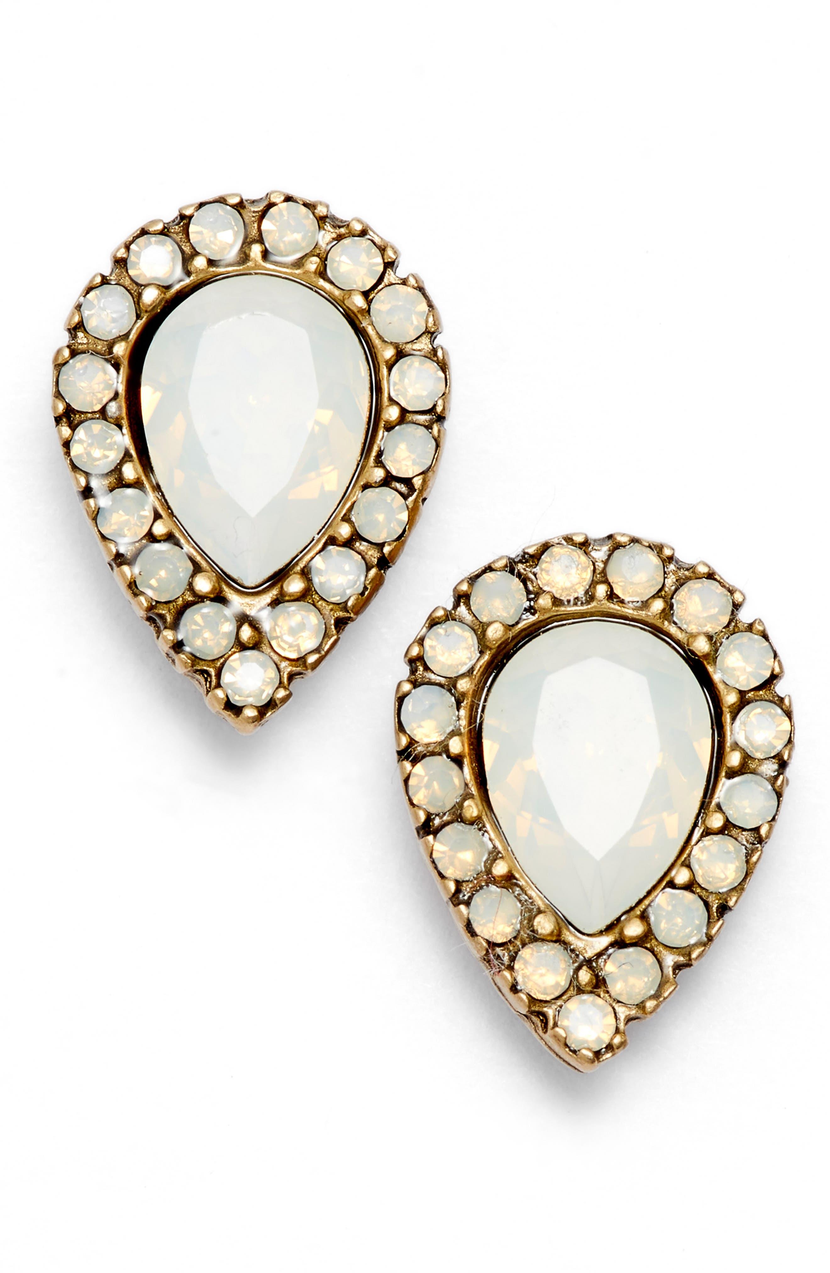 Jamie Teardrop Stud Earrings,                         Main,                         color, GOLD/ WHITE