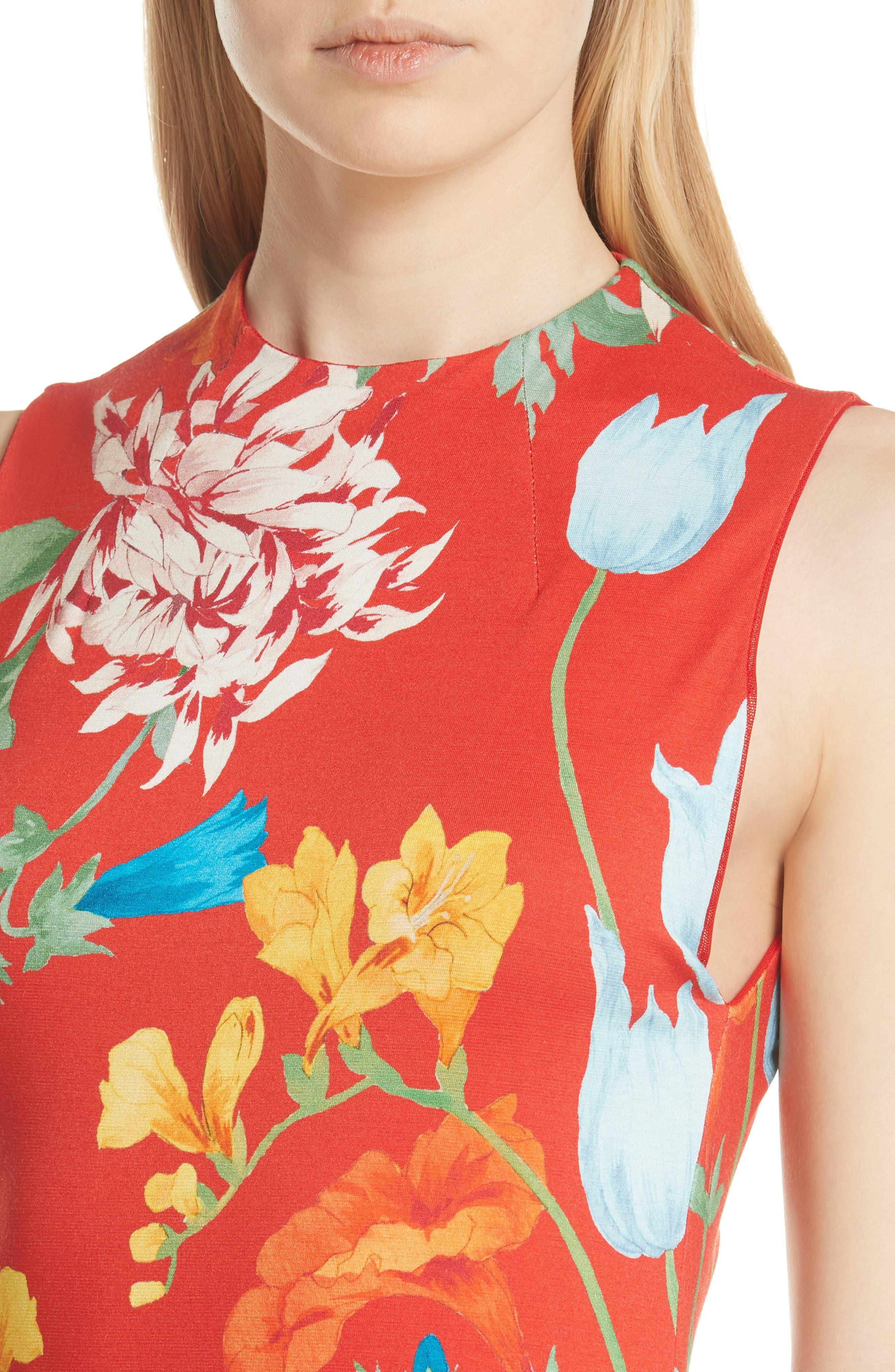 Delora Floral Sleeveless Body-Con Dress,                             Alternate thumbnail 4, color,                             602