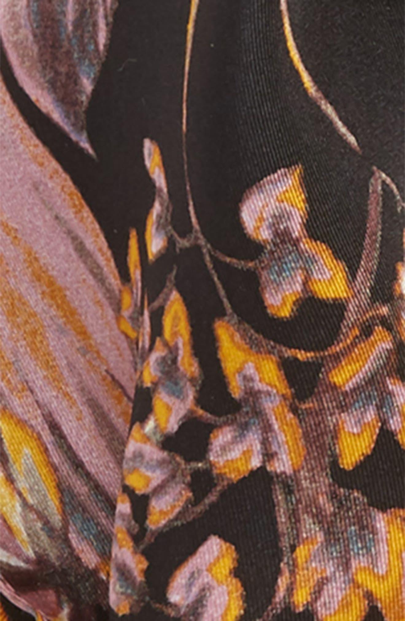 Floral Print Silk Kite Scarf,                             Alternate thumbnail 4, color,                             BLACK DARK FLORAL
