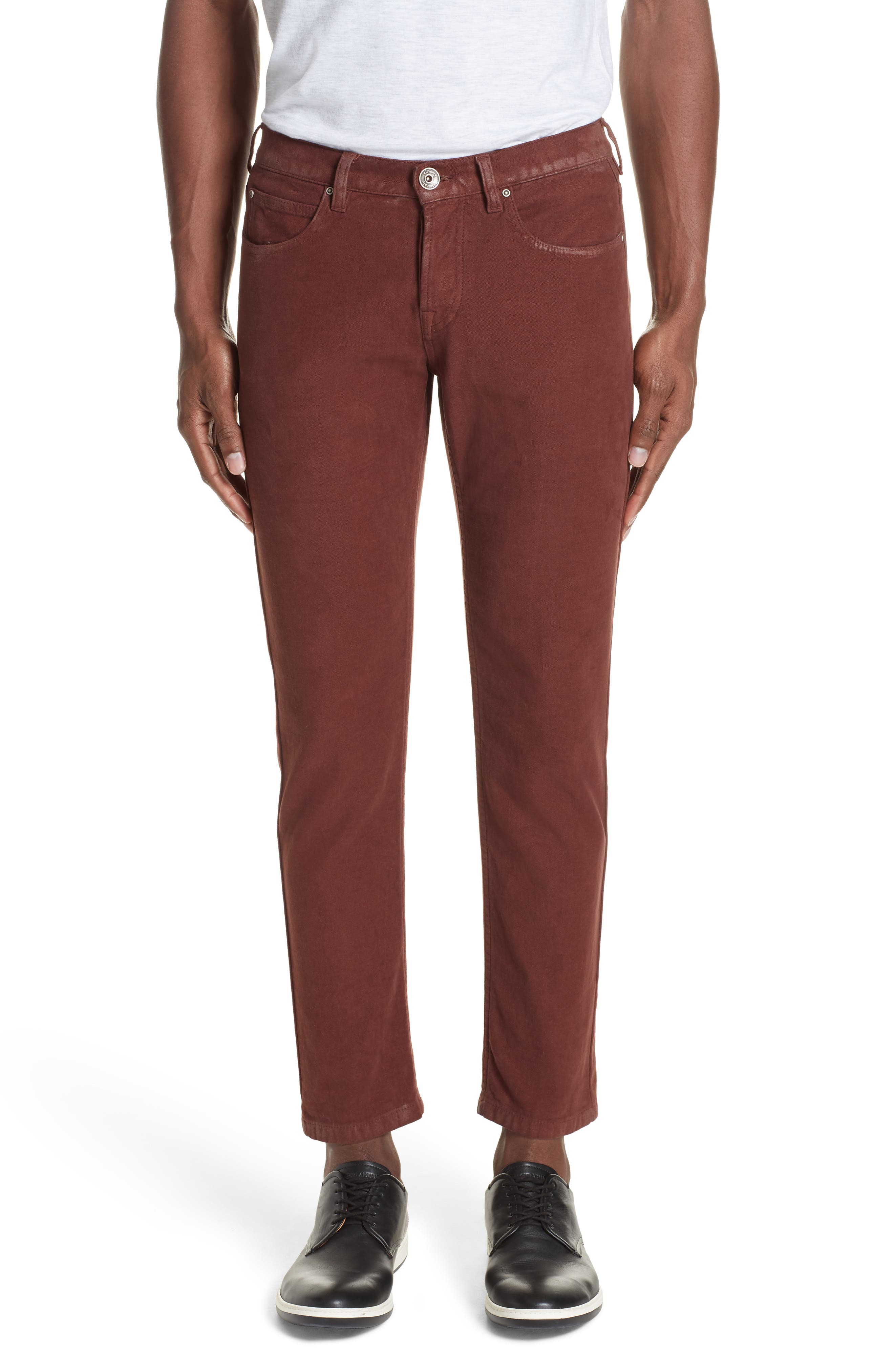 Slim Fit Stretch Cotton Five Pocket Trousers,                             Main thumbnail 1, color,                             OCHRE