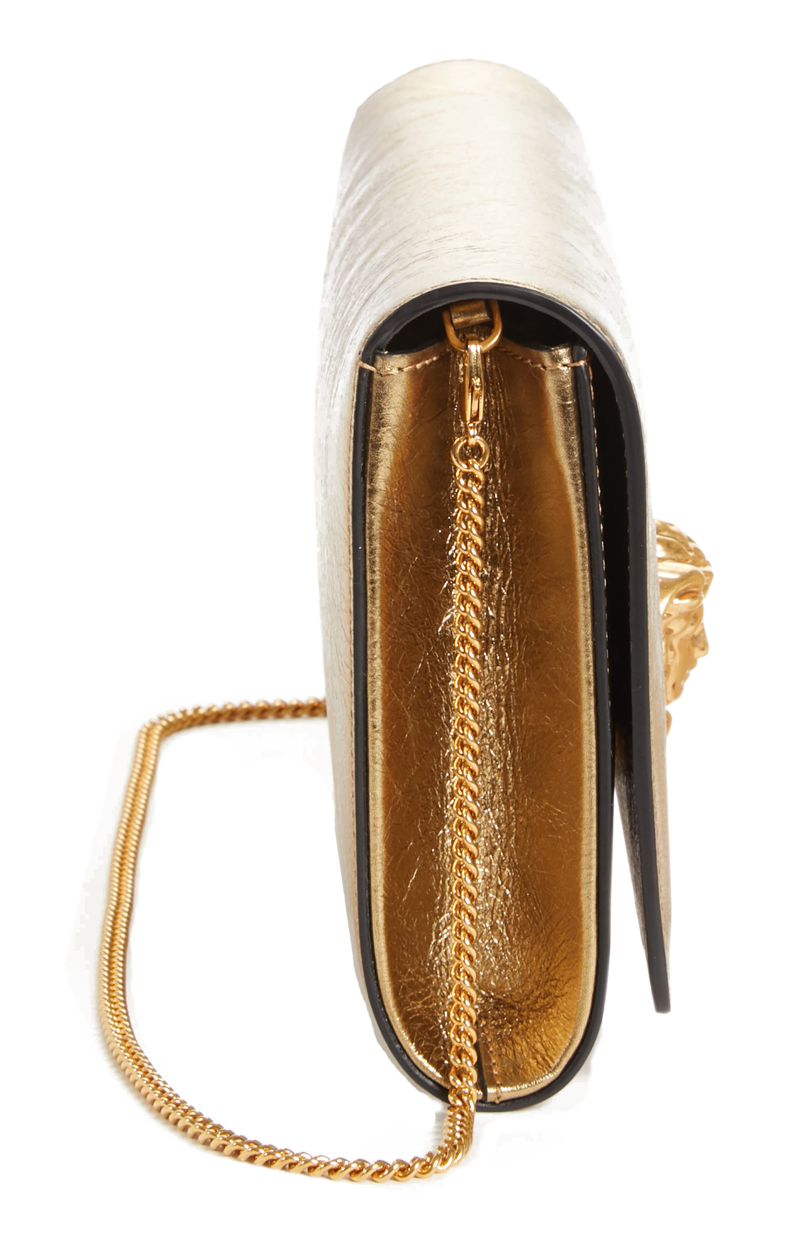 Palazzo Metallic Leather Clutch,                             Alternate thumbnail 5, color,