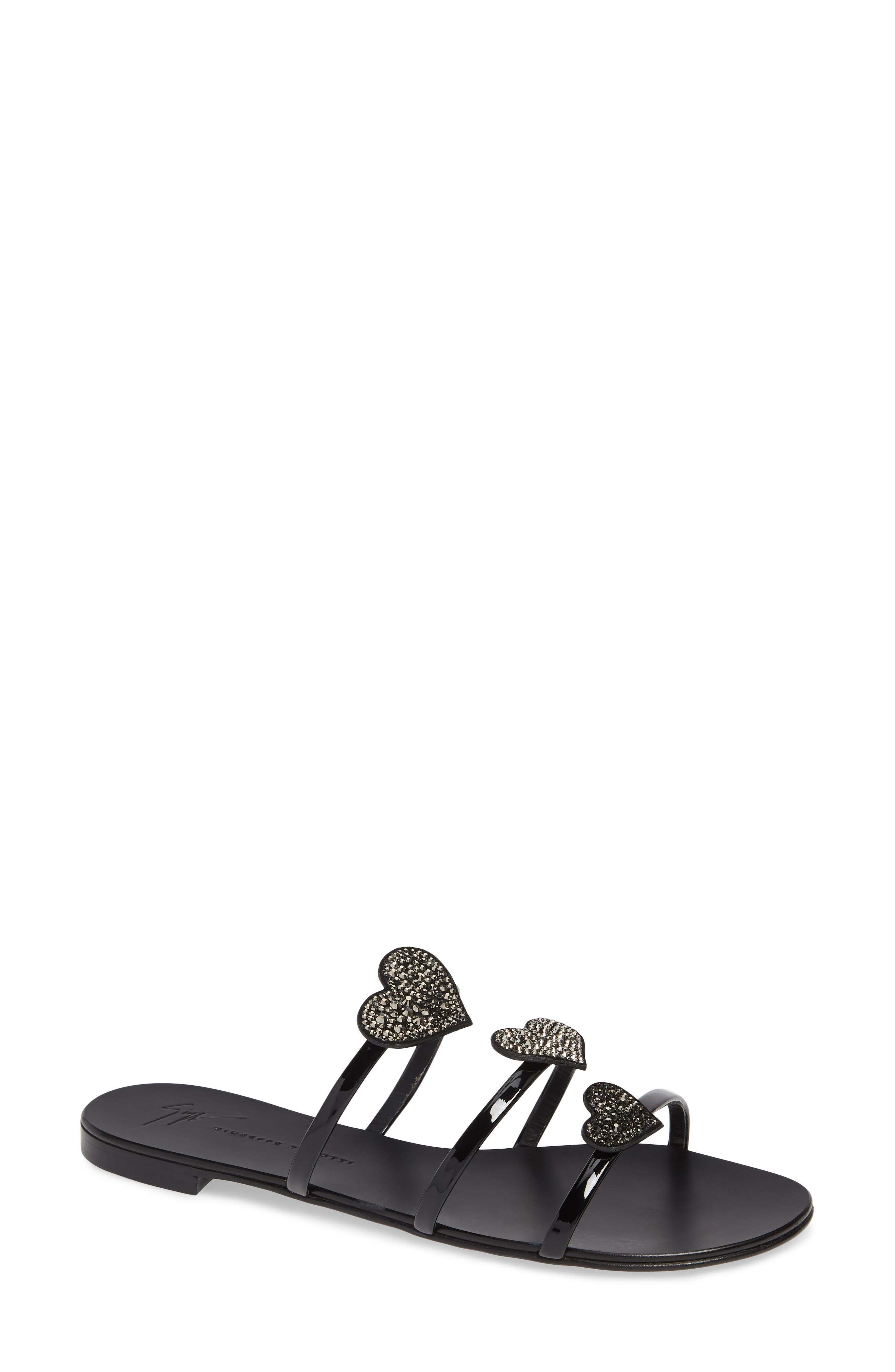 Triple Heart Embellished Slide Sandal in Black
