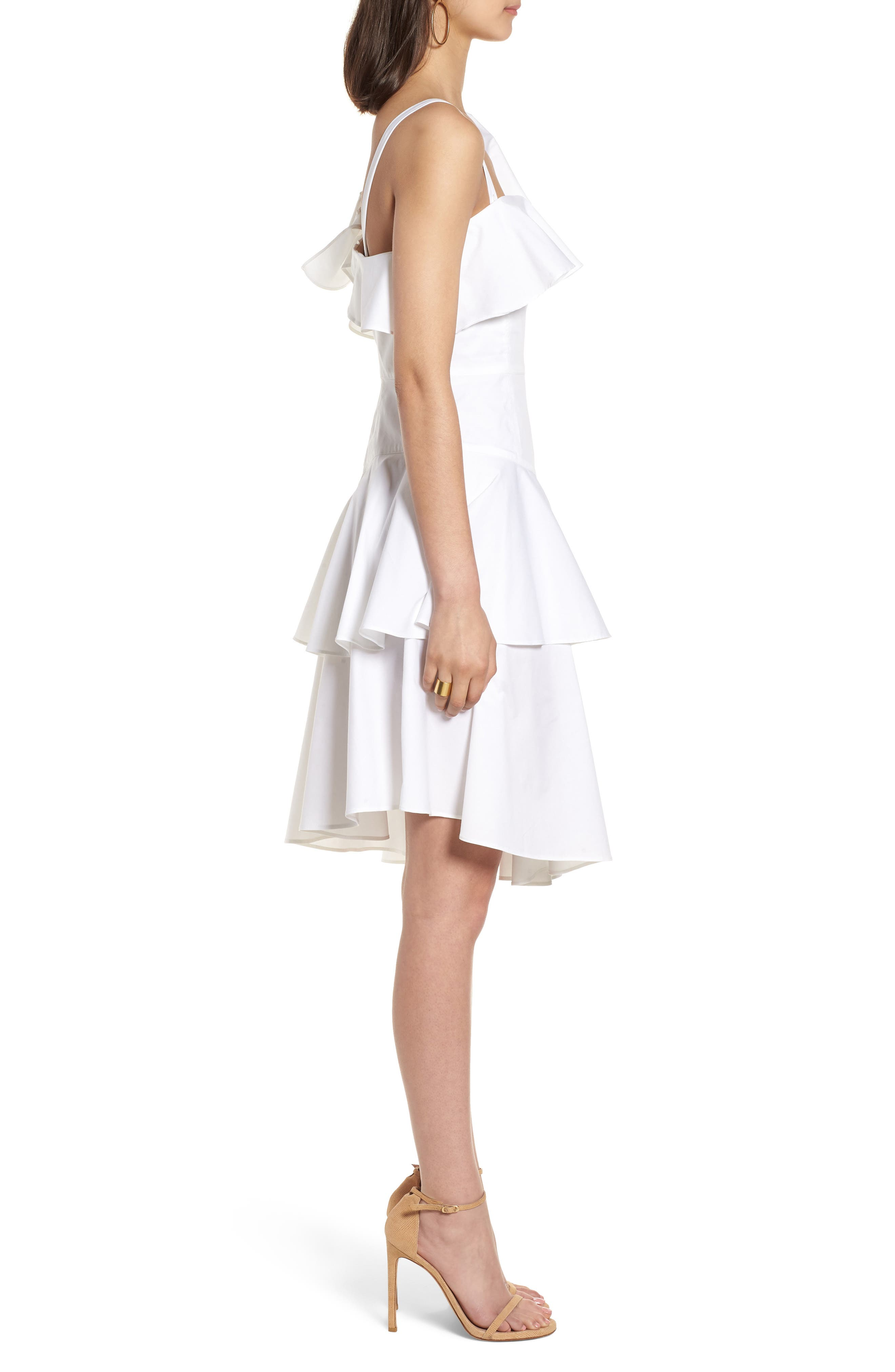 Ruffle One-Shoulder Dress,                             Alternate thumbnail 9, color,