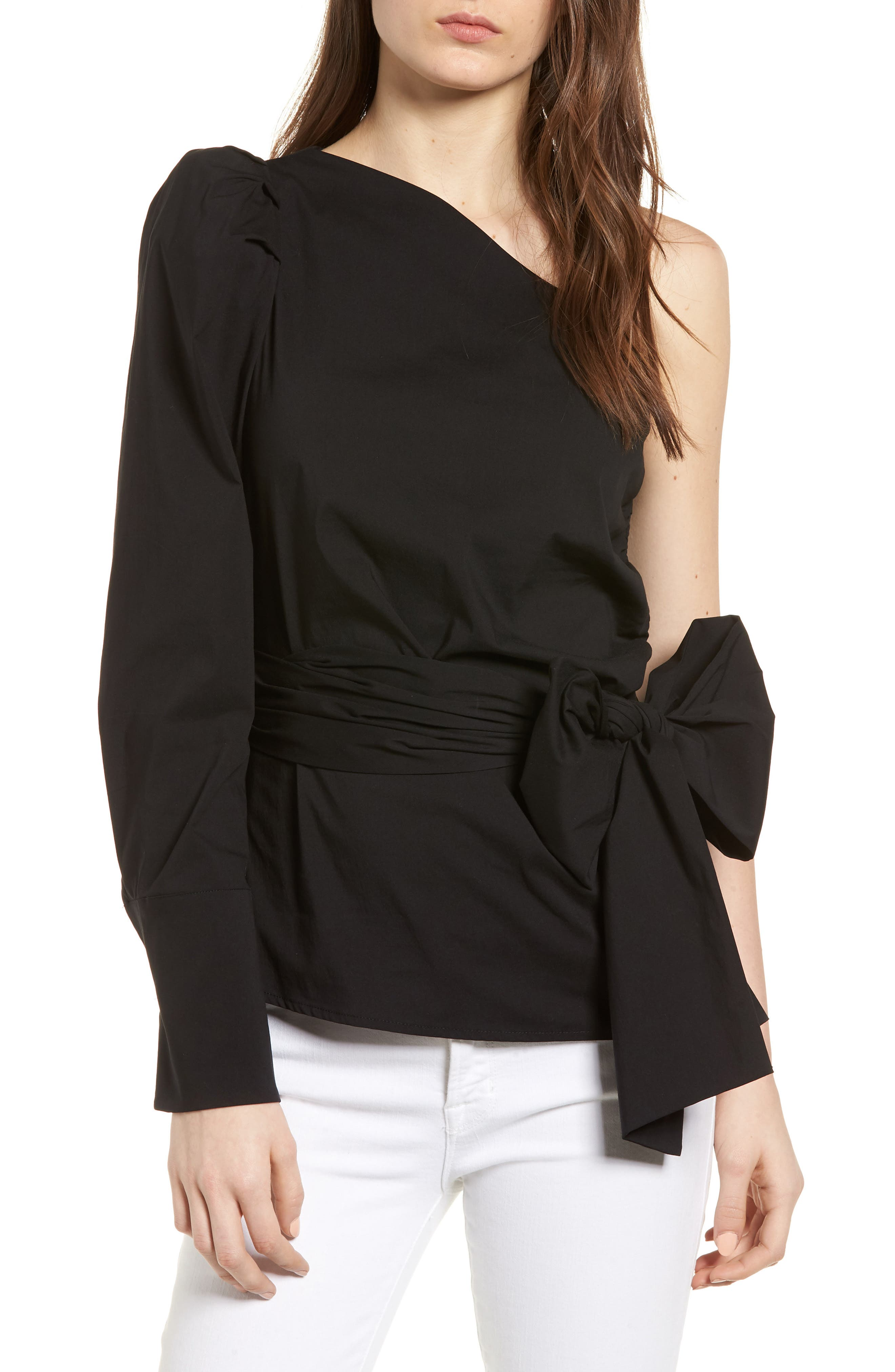Bishop + Young Belted One-Shoulder Blouse,                             Main thumbnail 1, color,                             BLACK