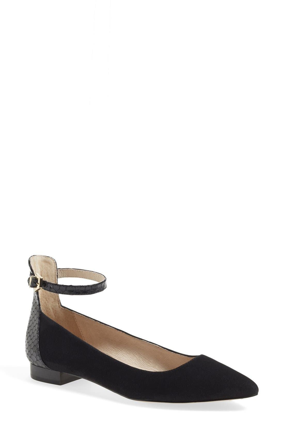 LOUISE ET CIE,                             'Barry' Ankle Strap Flat,                             Main thumbnail 1, color,                             001
