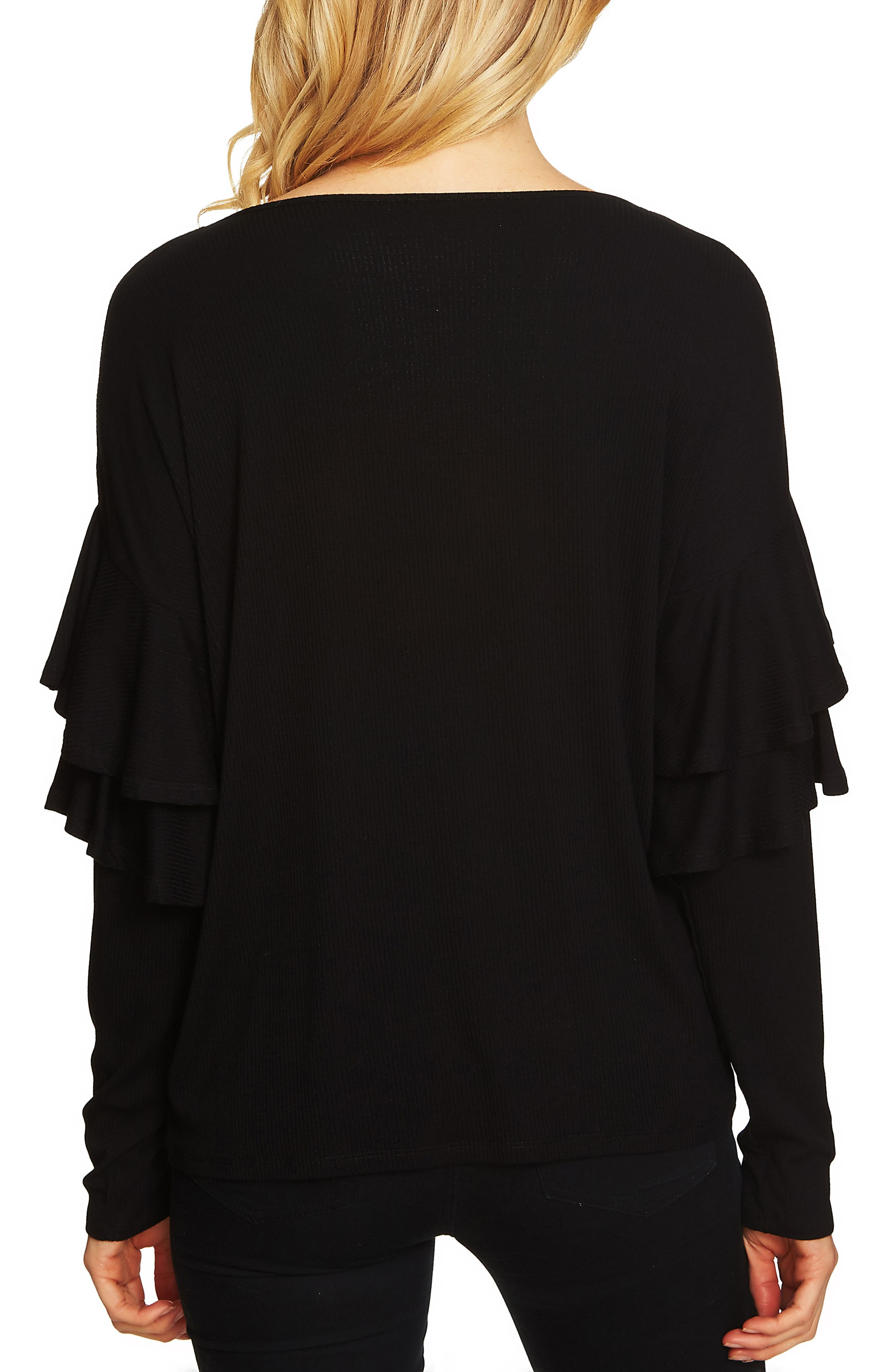 Tiered Ruffled Shoulder Ribbed Top,                             Alternate thumbnail 2, color,                             001