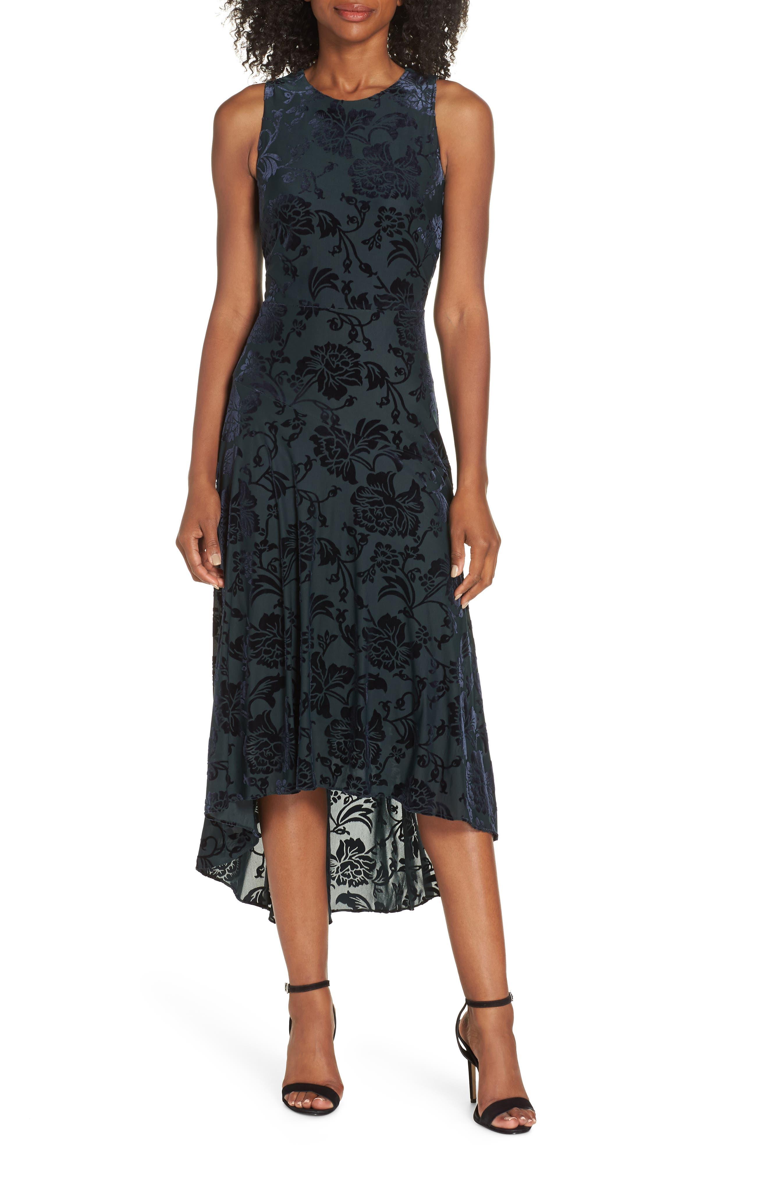 Burnout Velvet High/Low Dress,                         Main,                         color, NAVY/ GREEN