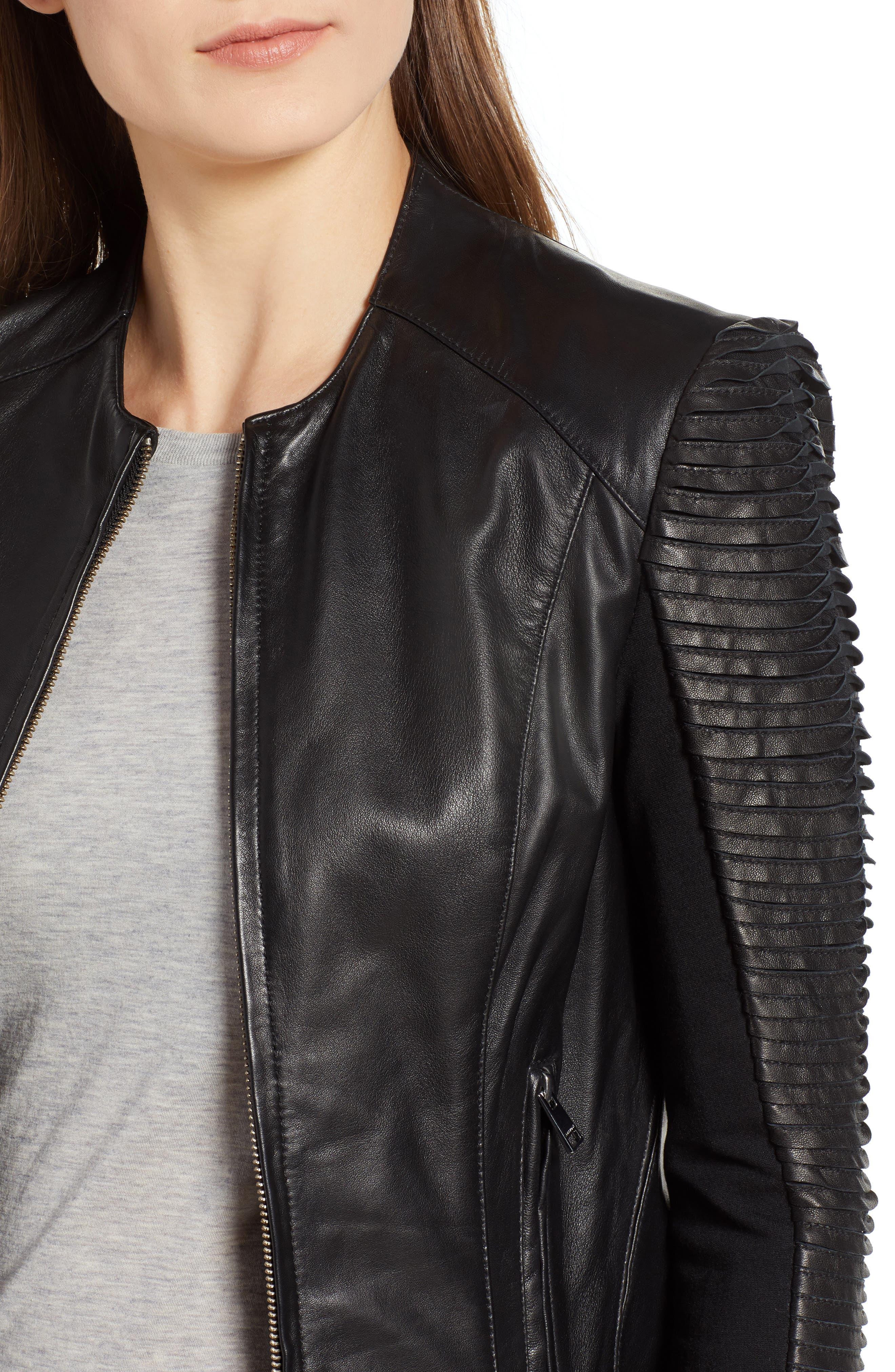Collarless Pleated Sleeve Leather Jacket,                             Alternate thumbnail 4, color,                             BLACK