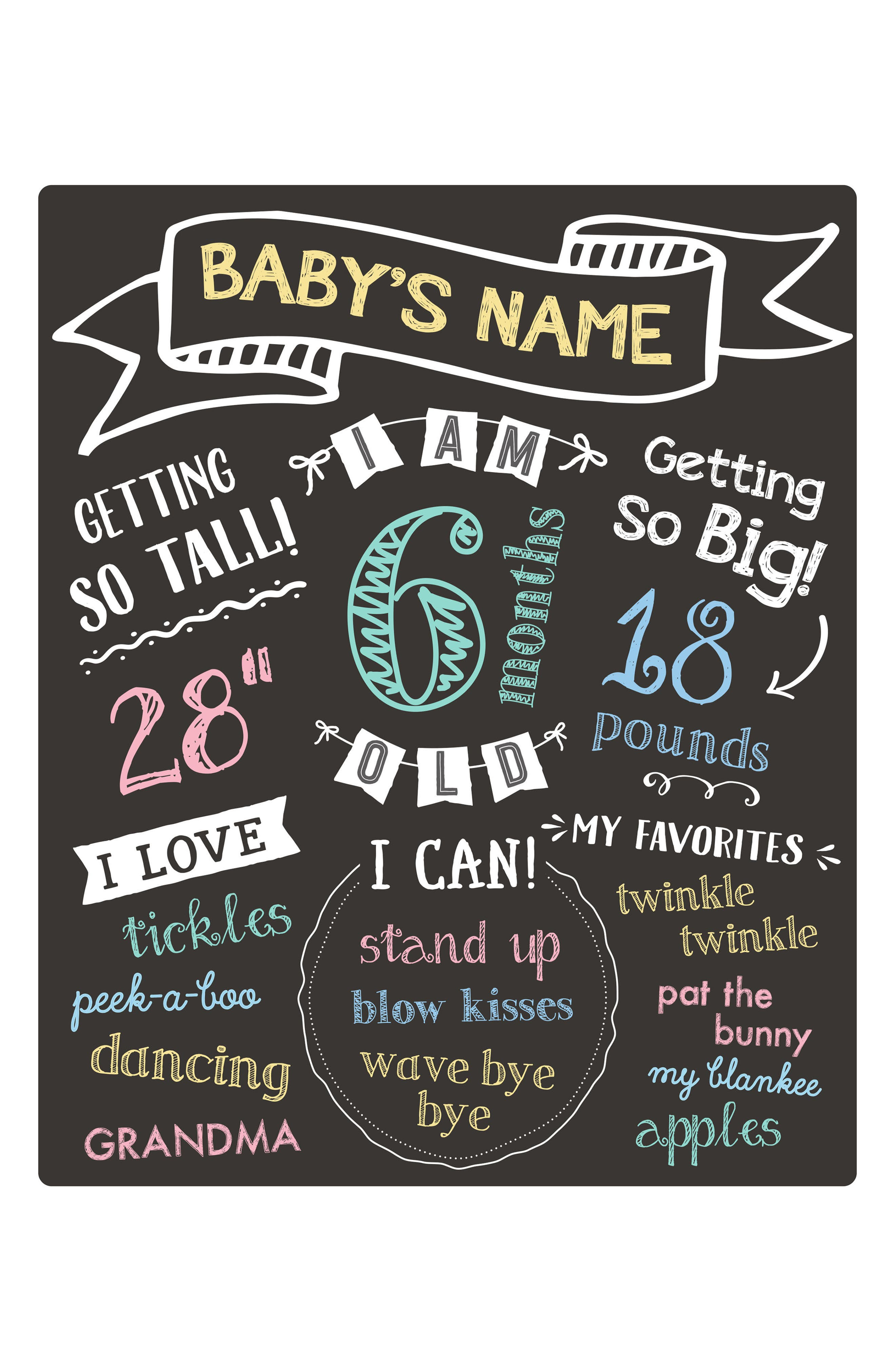 All About Baby Chalkboard,                             Alternate thumbnail 3, color,                             BLACK