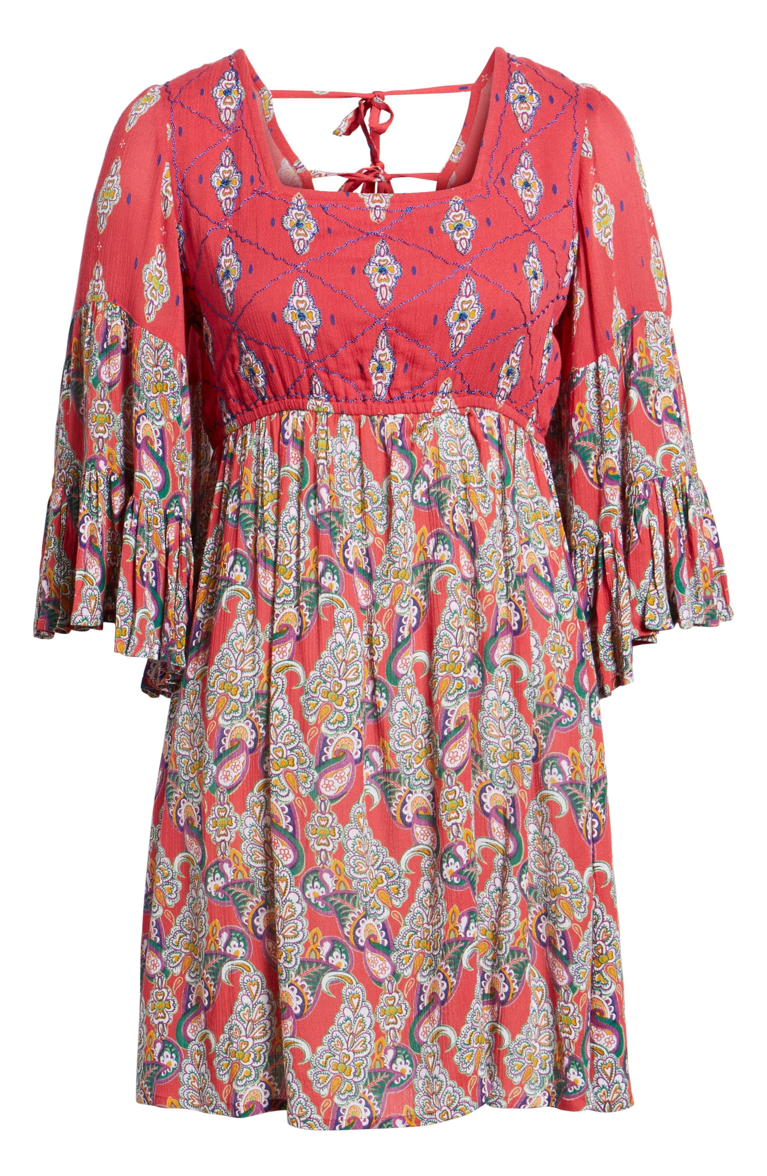 Alice Bell Sleeve Babydoll Dress,                             Alternate thumbnail 6, color,                             645